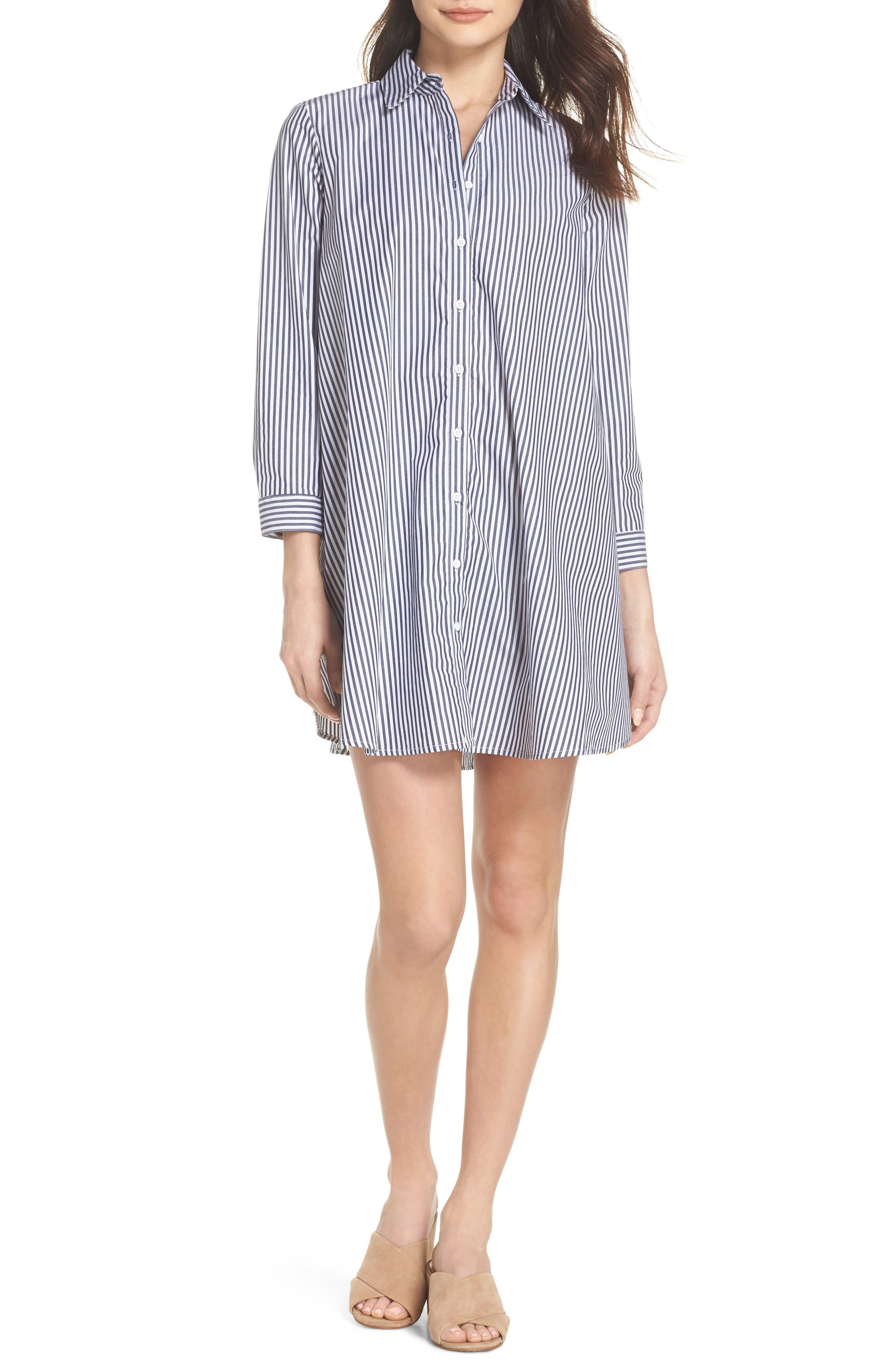 Olsen Stripe Shirtdress,                             Main thumbnail 1, color,