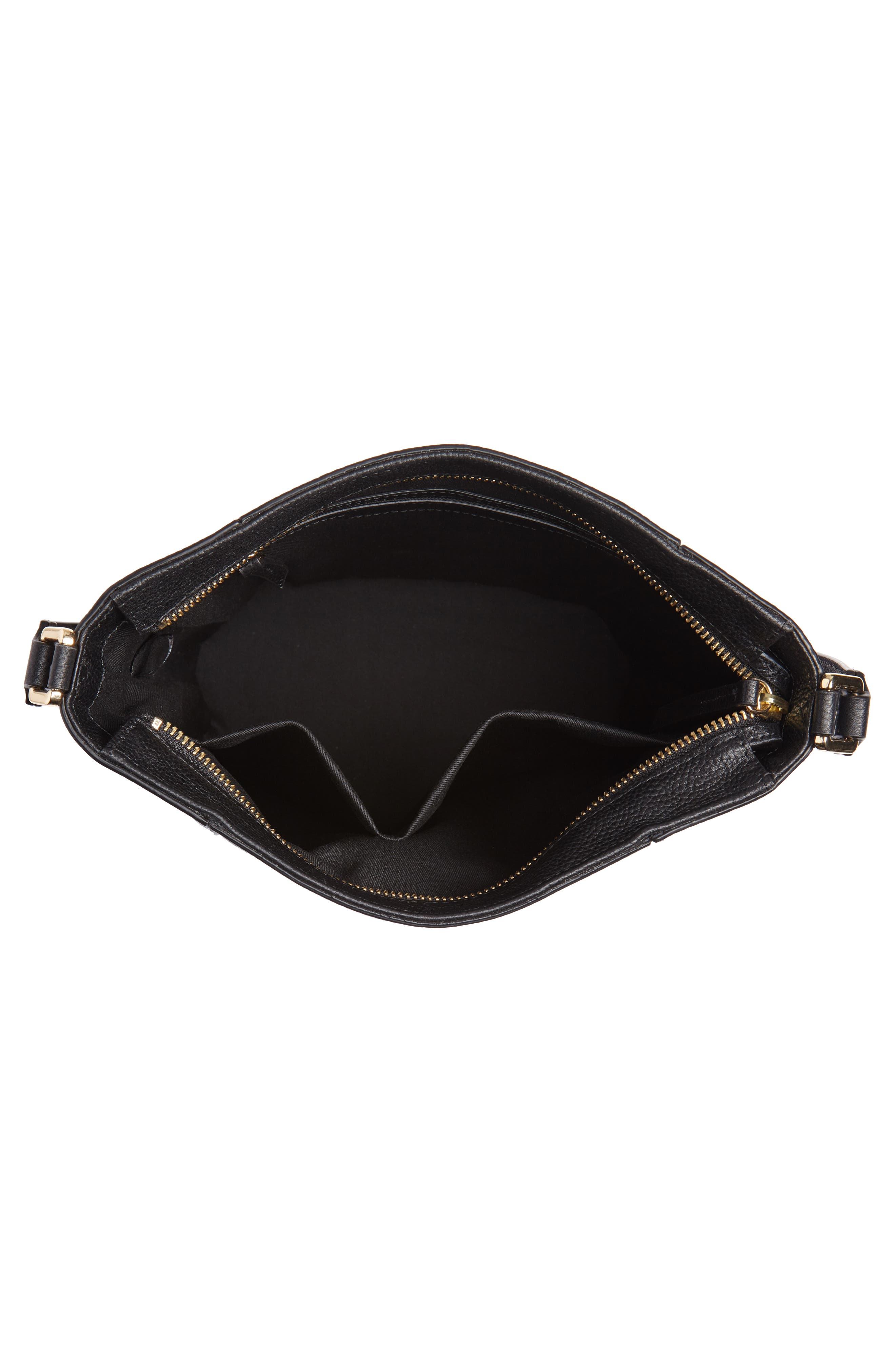 Loraine Leather Bucket Bag,                             Alternate thumbnail 4, color,                             BLACK
