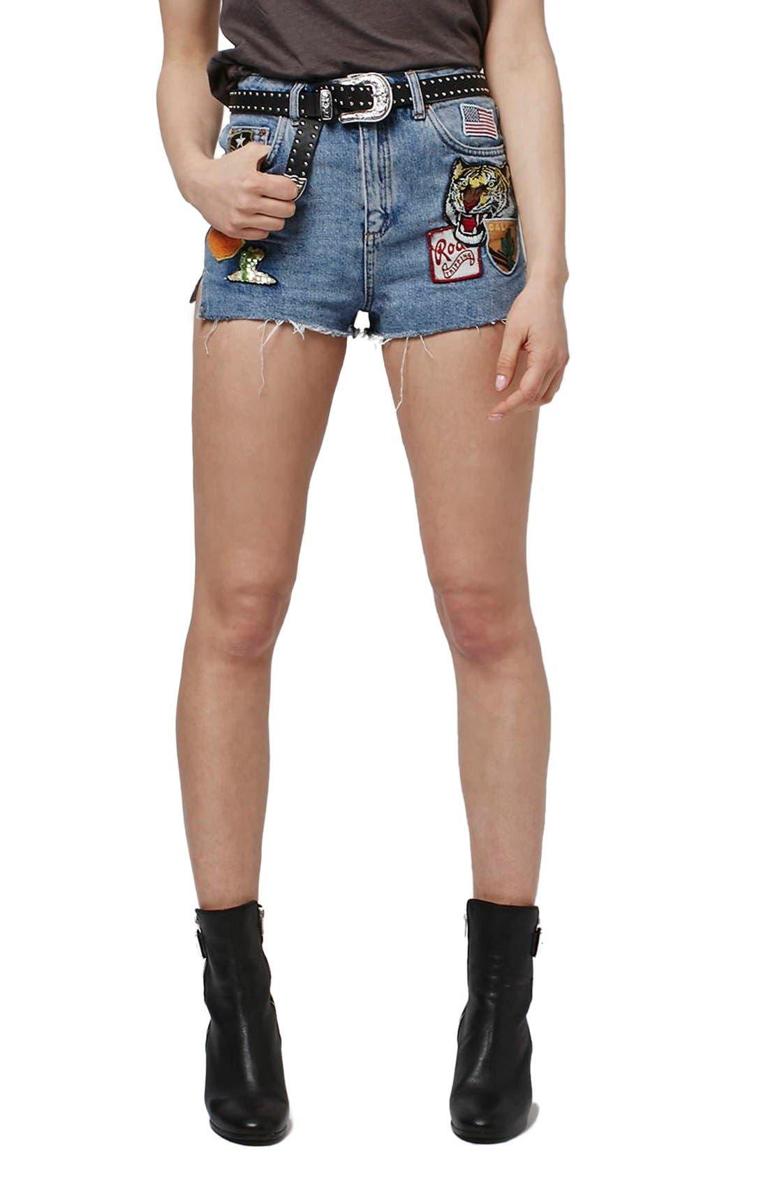 Moto Raw Hem Badge Mom Shorts,                             Main thumbnail 1, color,                             400