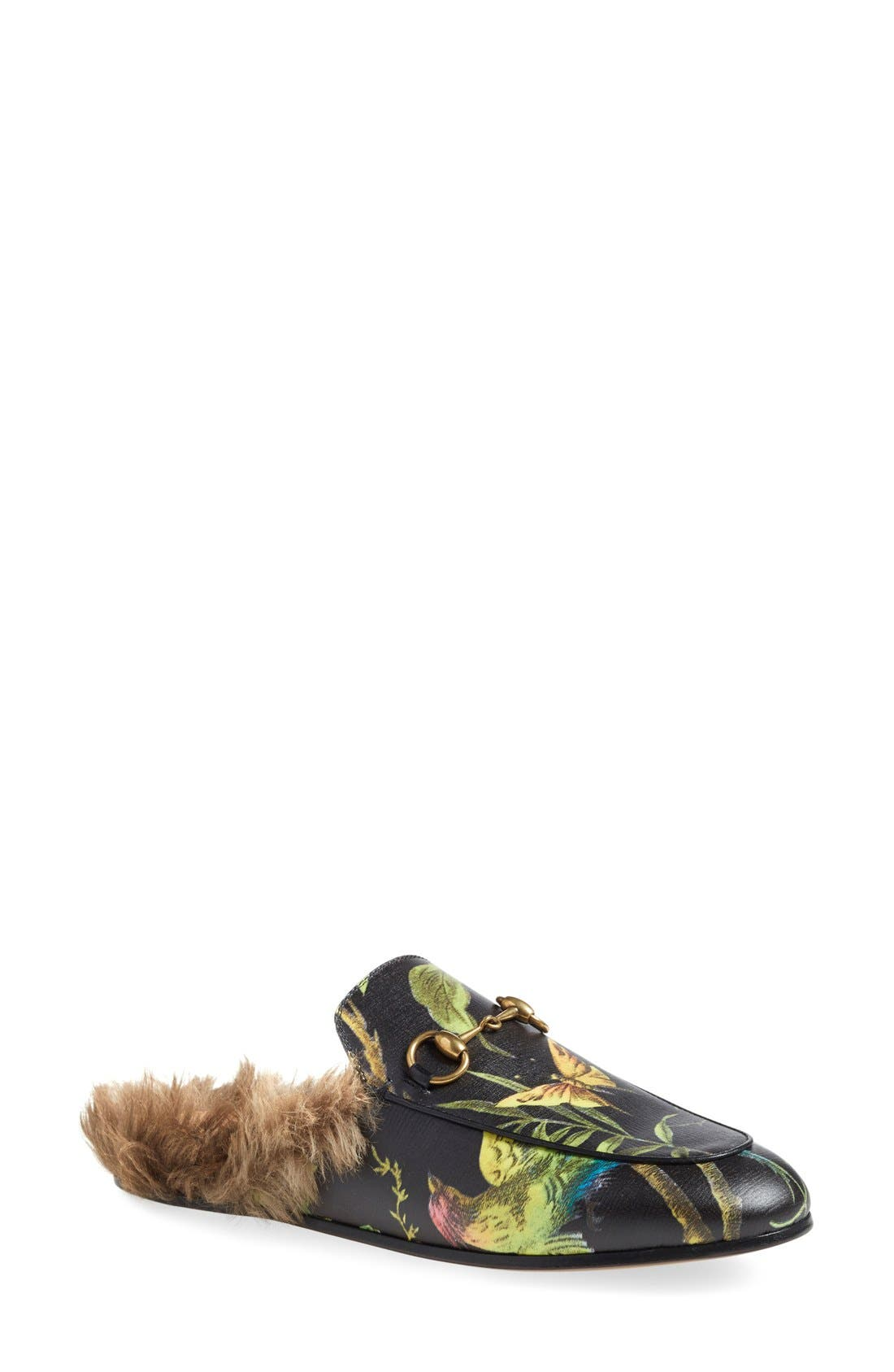 Princetown Genuine Fur Loafer Mule,                         Main,                         color, 001