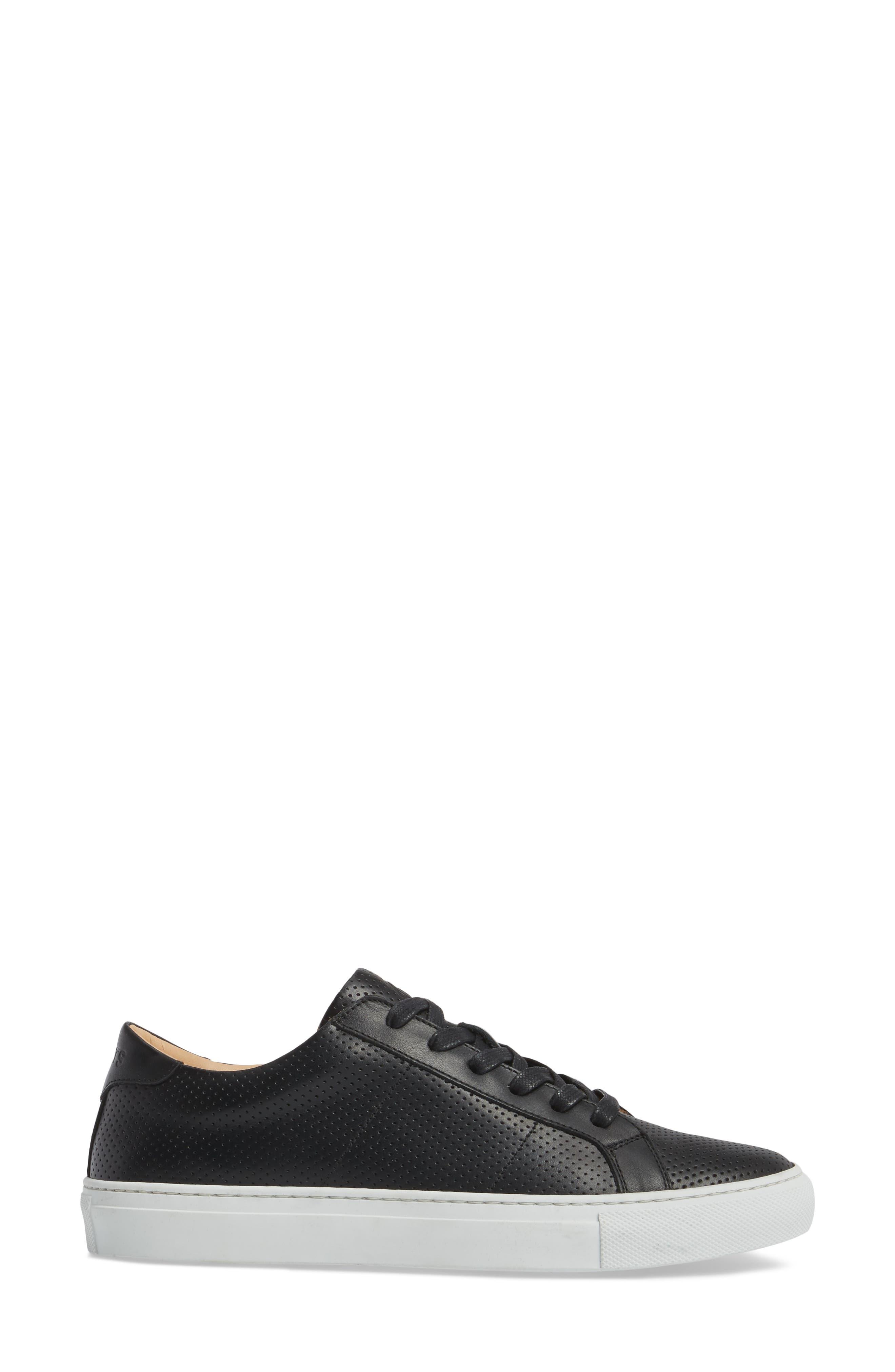 Royale Low Top Sneaker,                             Alternate thumbnail 3, color,                             BLACK PERFORATED