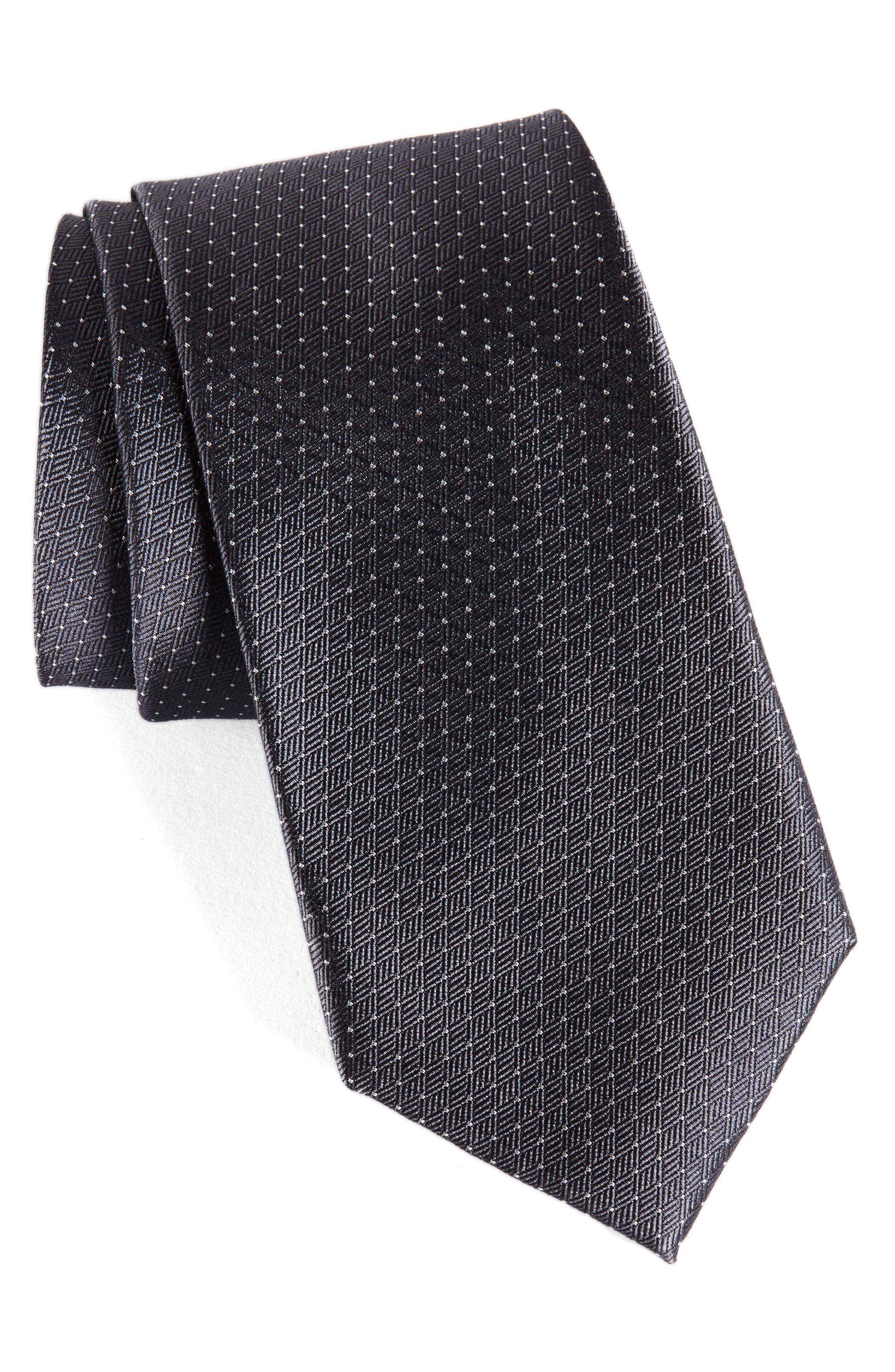 Parquet Pin Dot Silk Tie,                             Main thumbnail 1, color,                             020