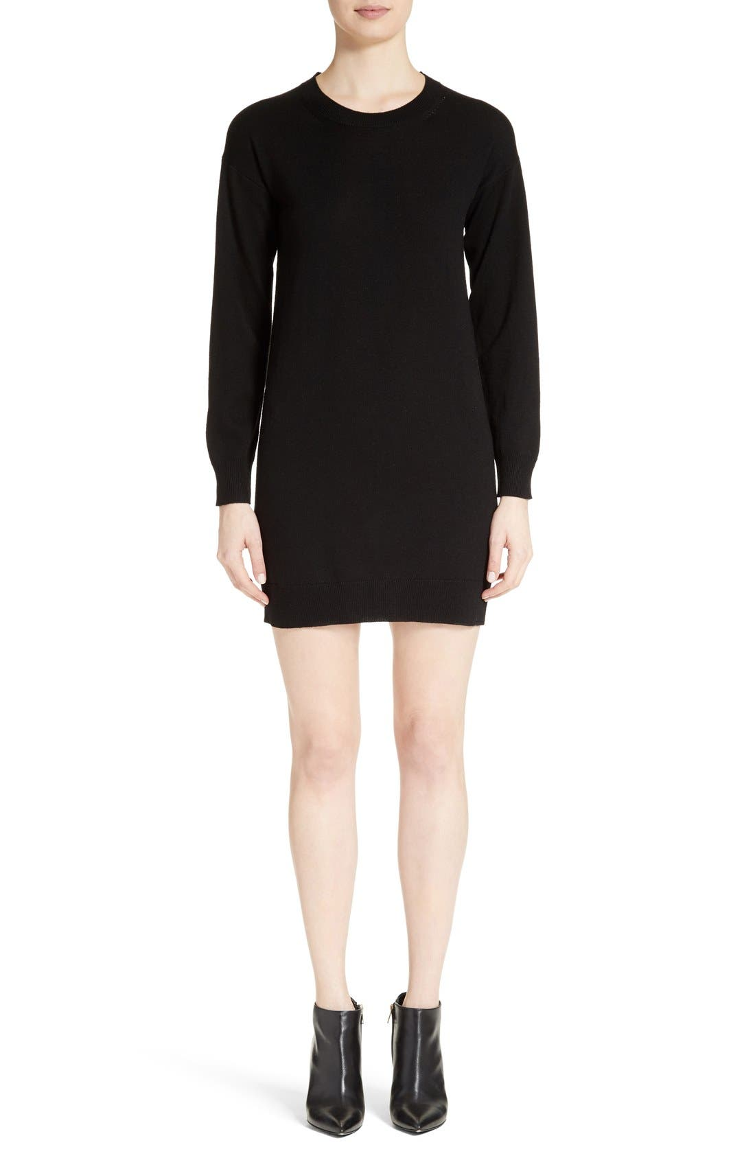 Alewater Elbow Patch Merino Wool Dress,                         Main,                         color, BLACK