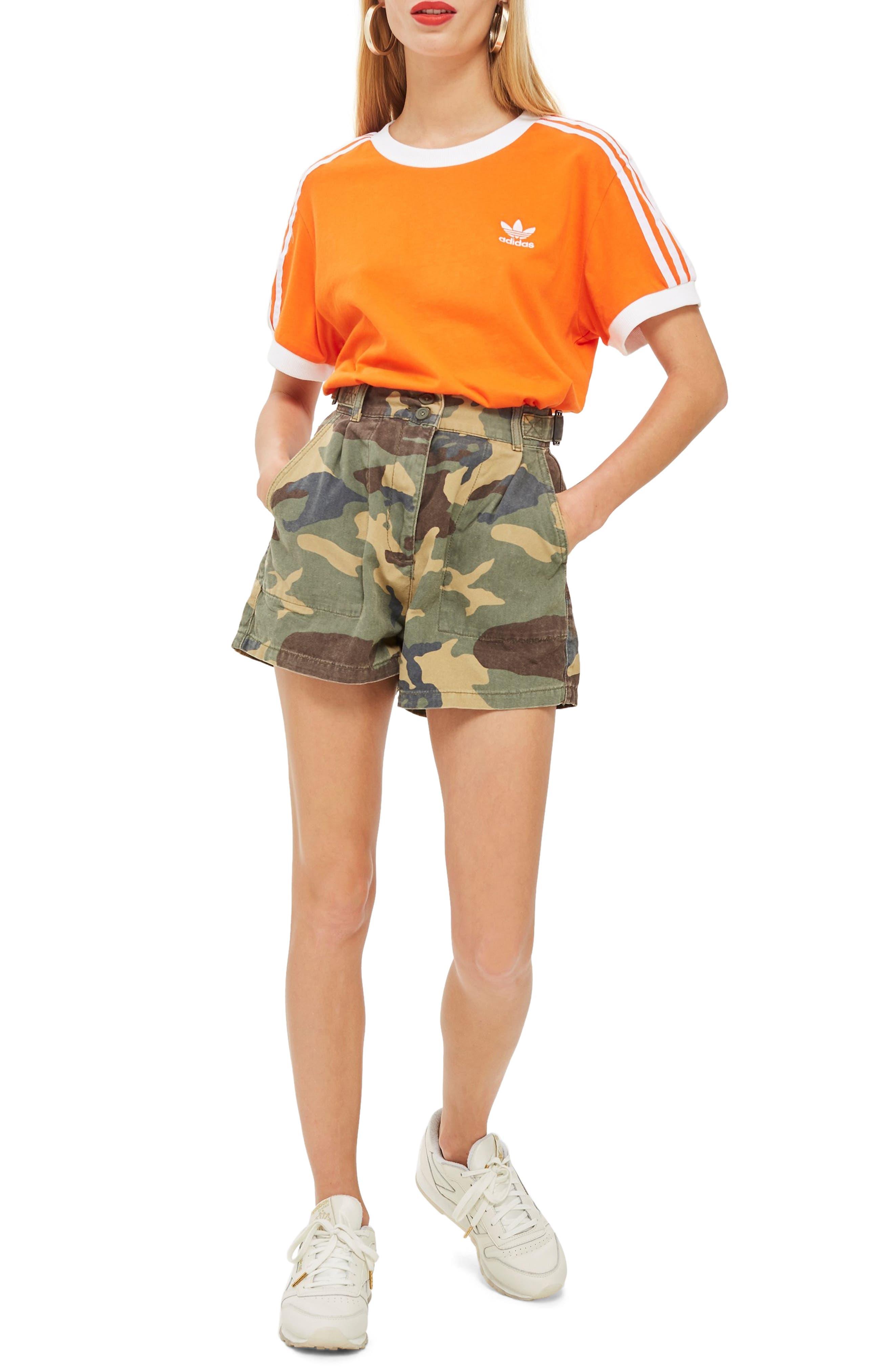 TOPSHOP Camo Print Utility Shorts, Main, color, 300
