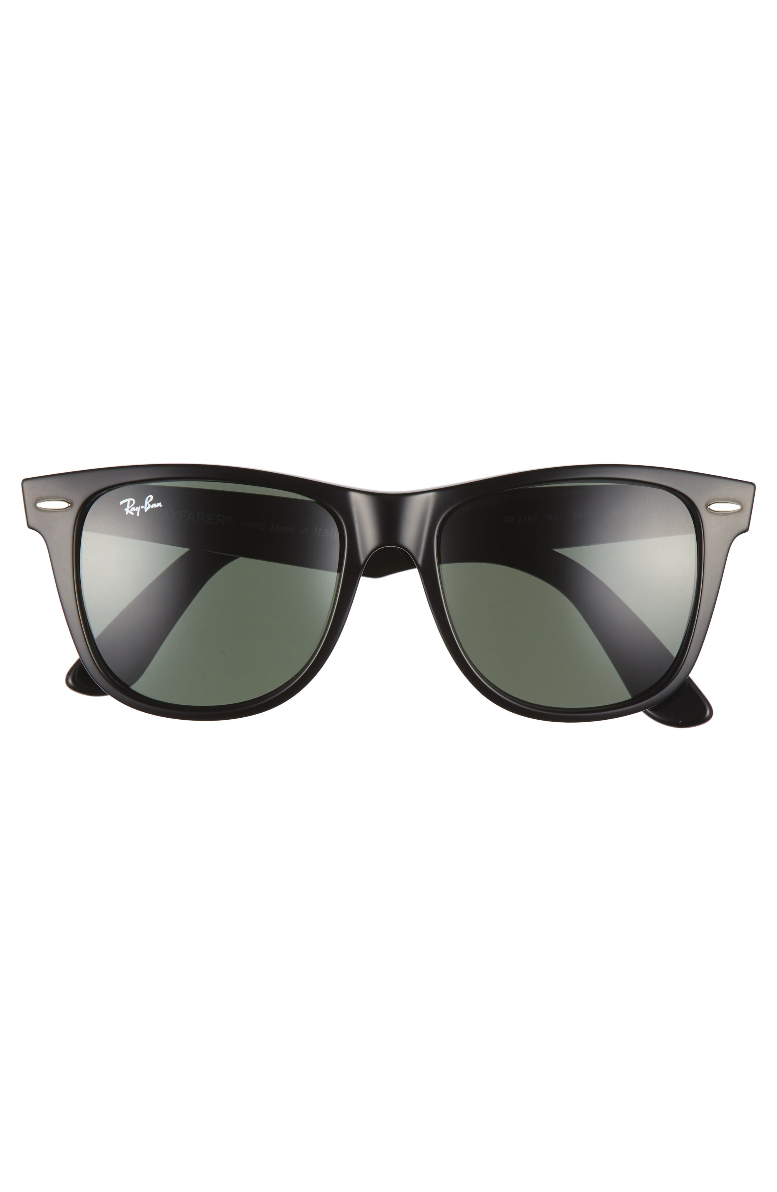 RAY-BAN,                             Classic Wayfarer 54mm Sunglasses,                             Alternate thumbnail 2, color,                             BLACK/ GREEN