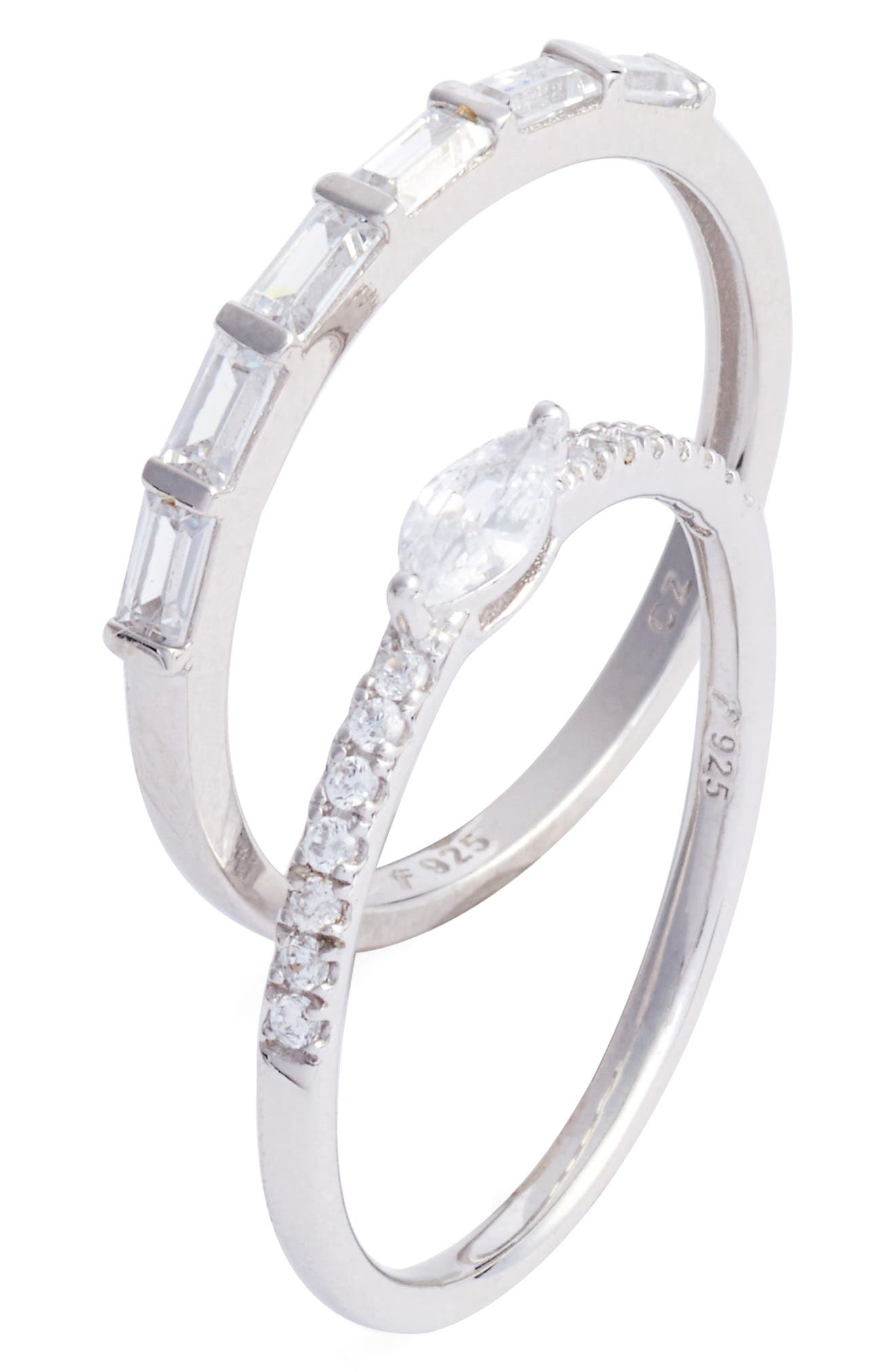 Set of 2 Cubic Zirconia Stacking Rings,                         Main,                         color, 040