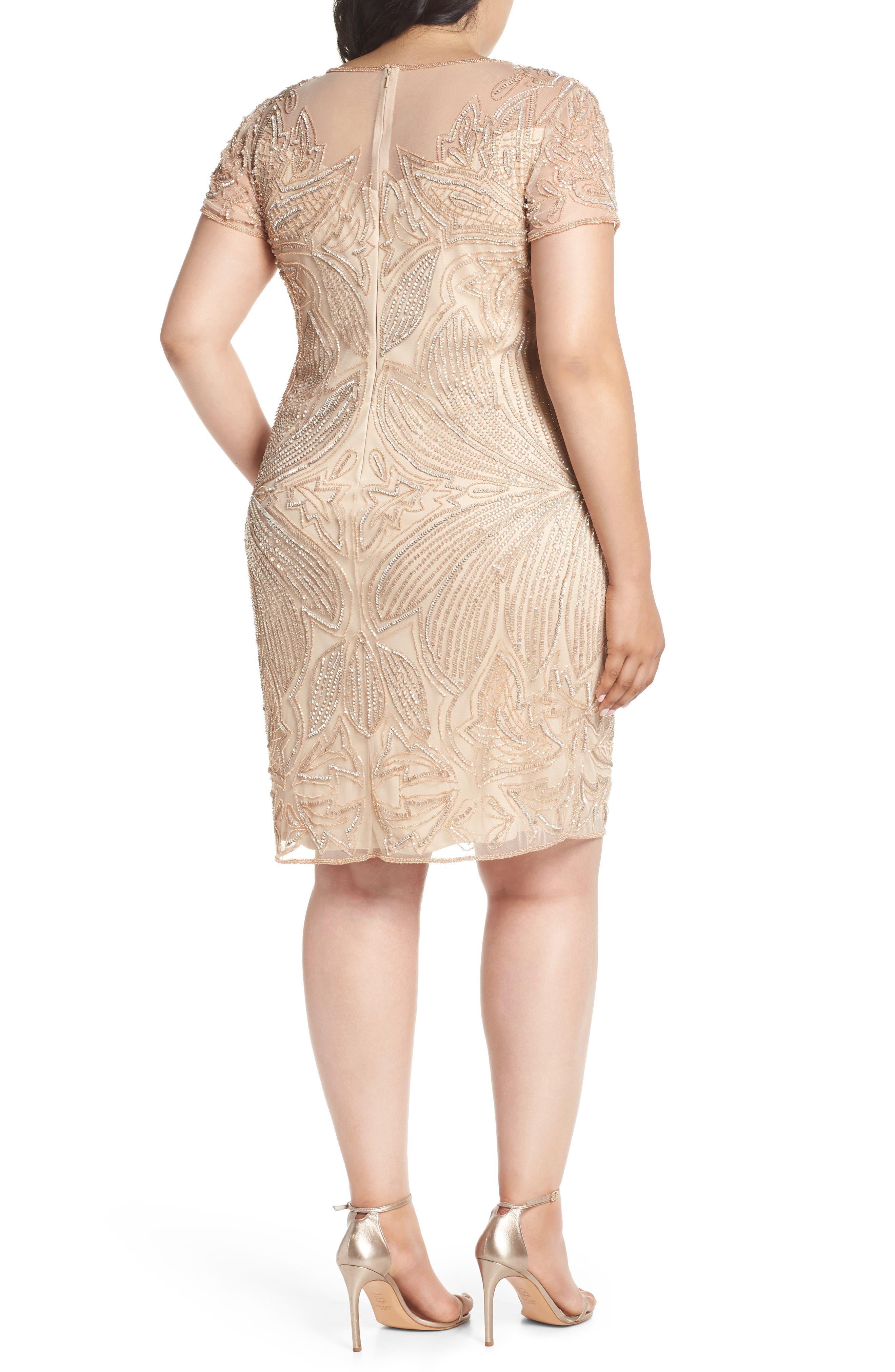 Beaded Sheath Dress,                             Alternate thumbnail 2, color,                             CHAMPAGNE