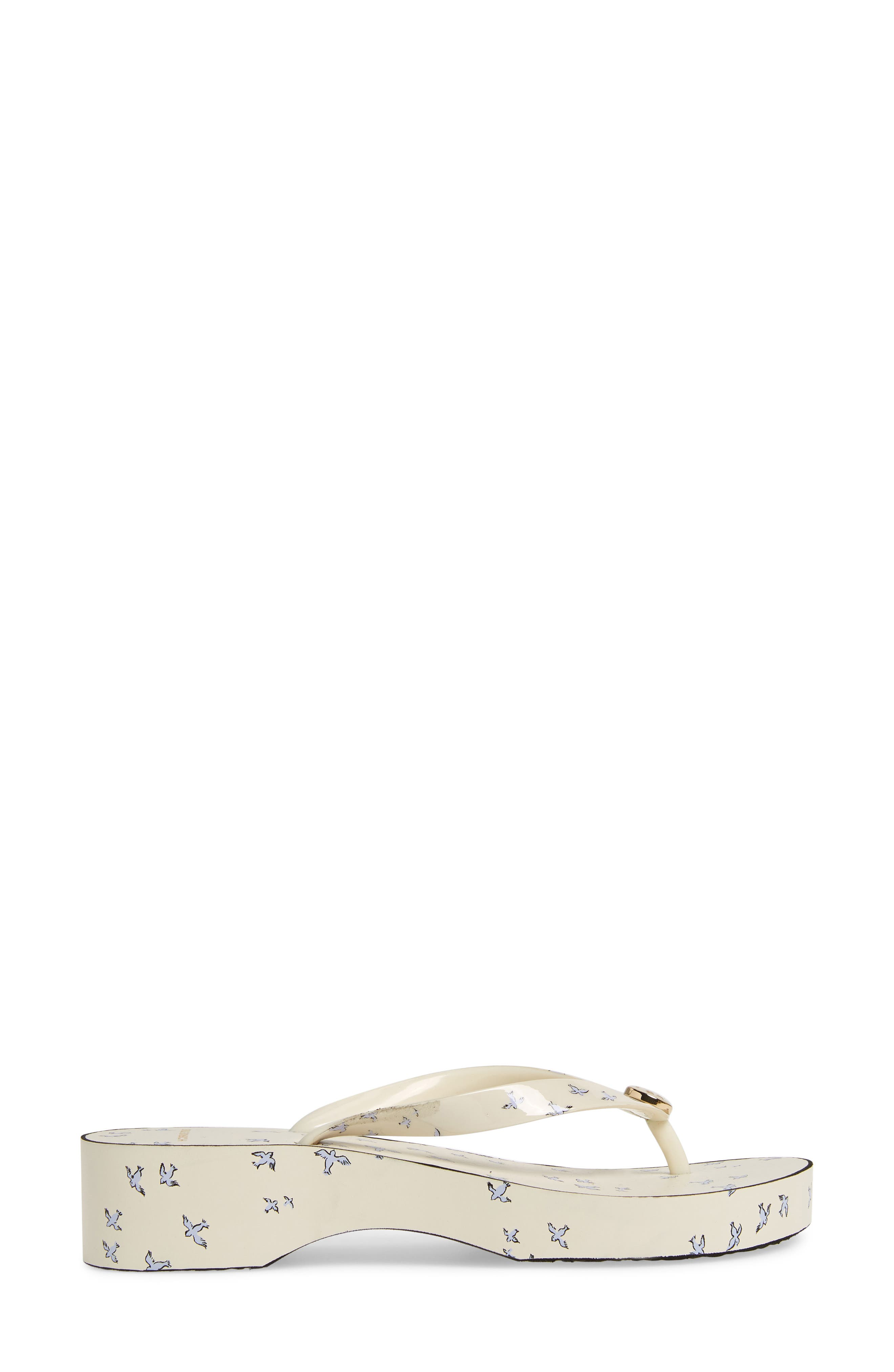 Wedge Flip Flop,                             Alternate thumbnail 3, color,                             IVORY EARLY BIRD