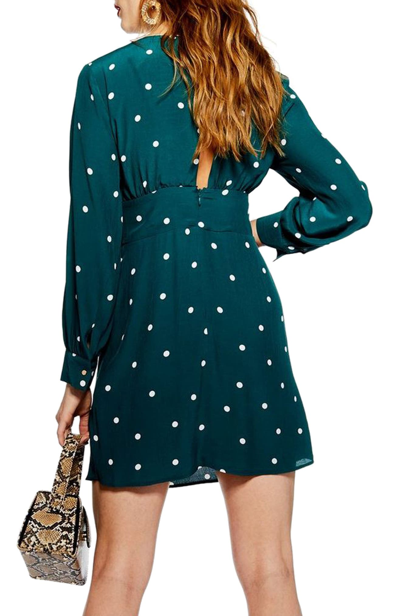 Spot Ruched Dress,                             Alternate thumbnail 2, color,                             TEAL MULTI