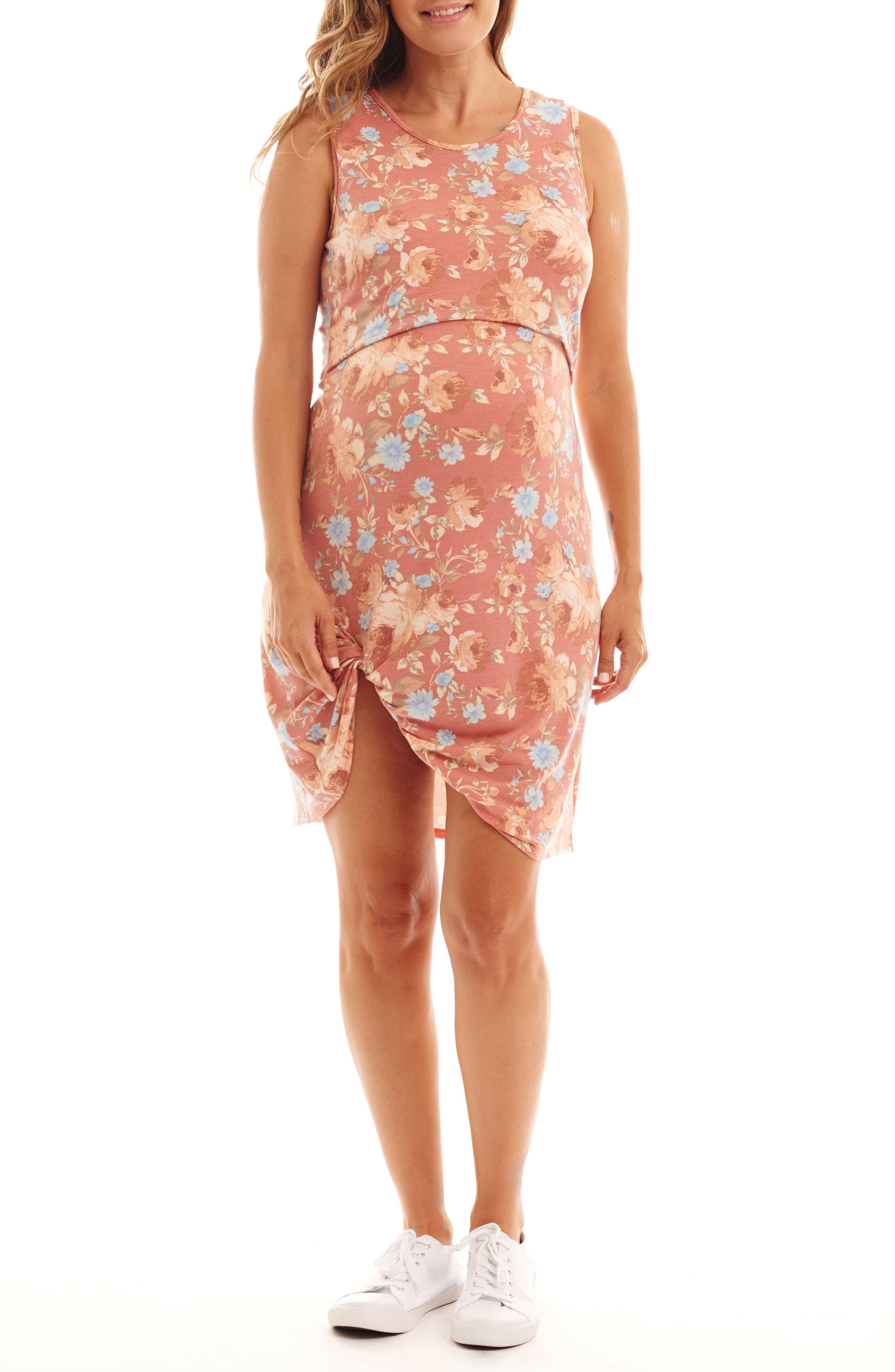 Everly Grey Marta Floral Maternity/nursing Dress, Orange