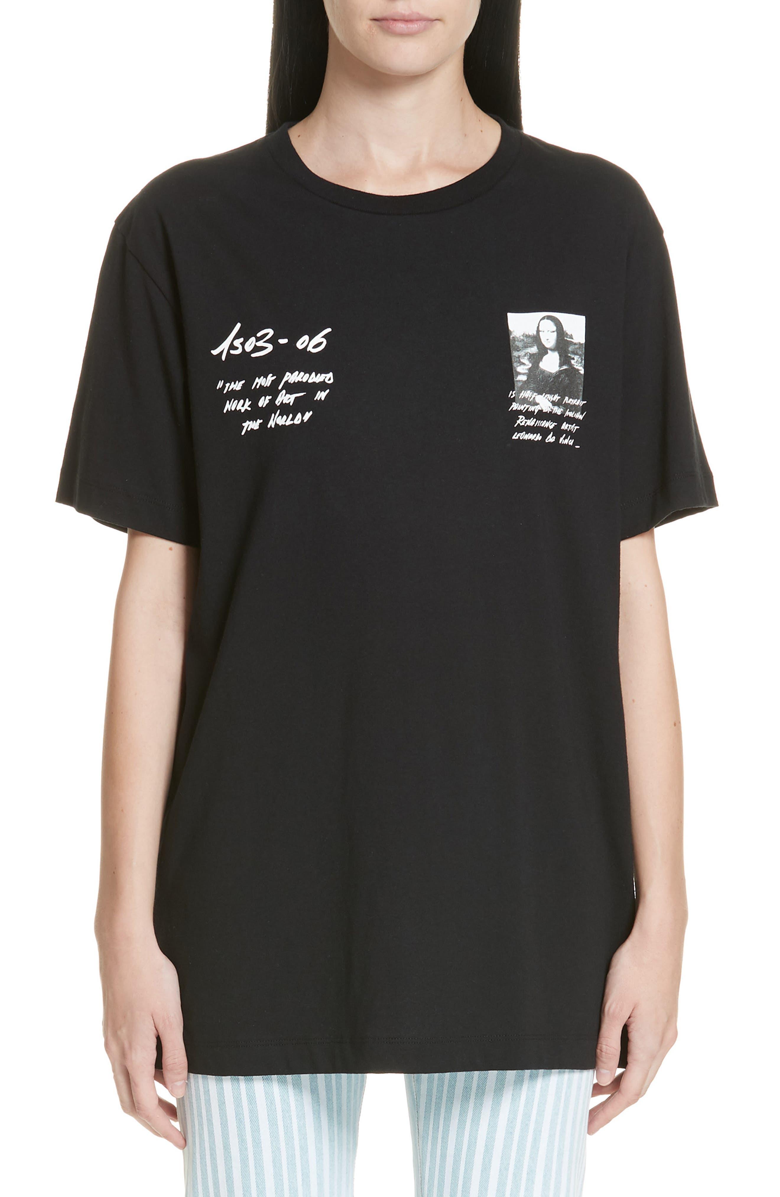 OFF-WHITE,                             Mona Lisa Sign Short Sleeve Slim Tee,                             Main thumbnail 1, color,                             BLACK RED