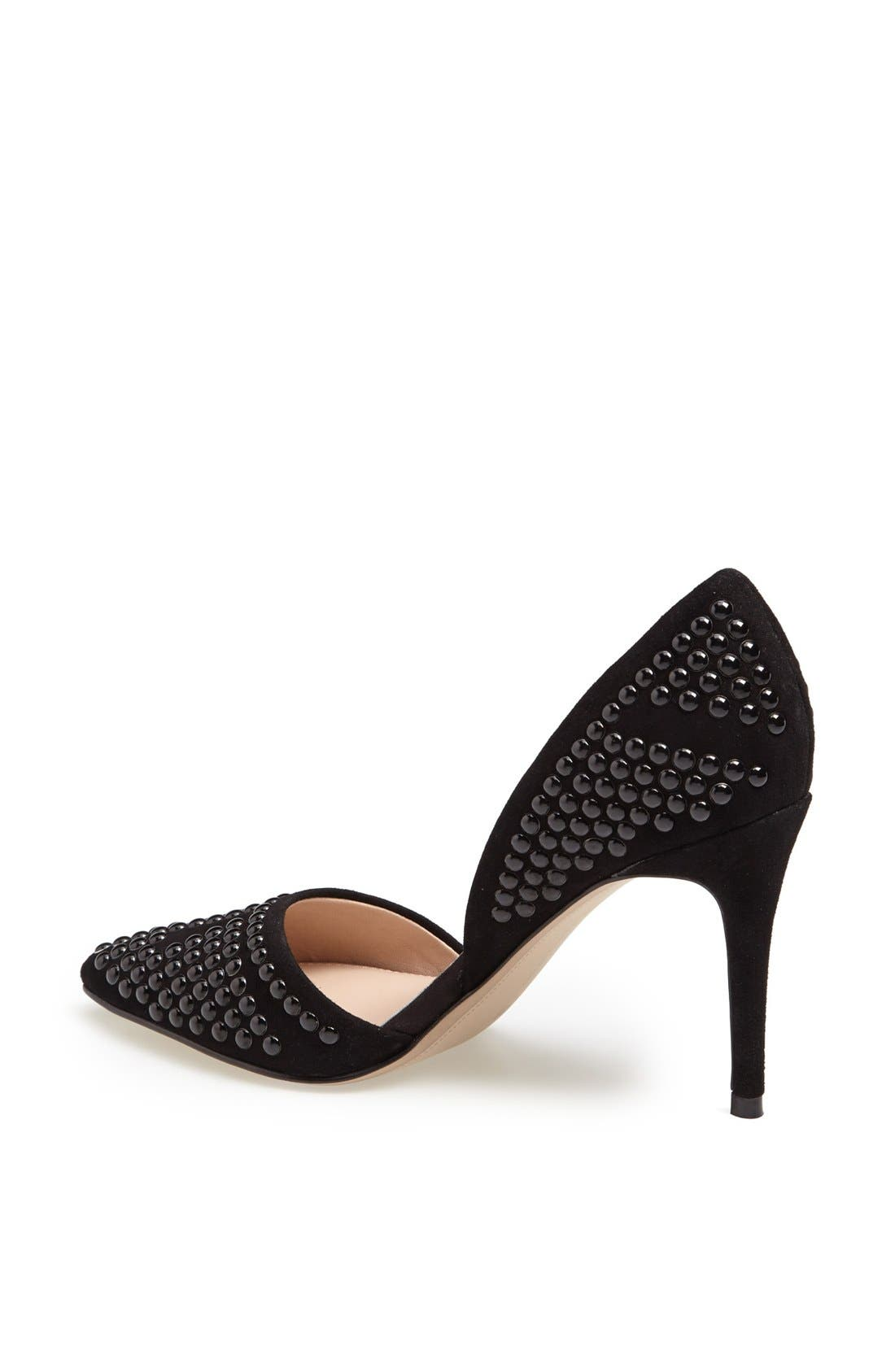 'Ellis' Studded Nubuck d'Orsay Pump,                             Alternate thumbnail 3, color,                             001