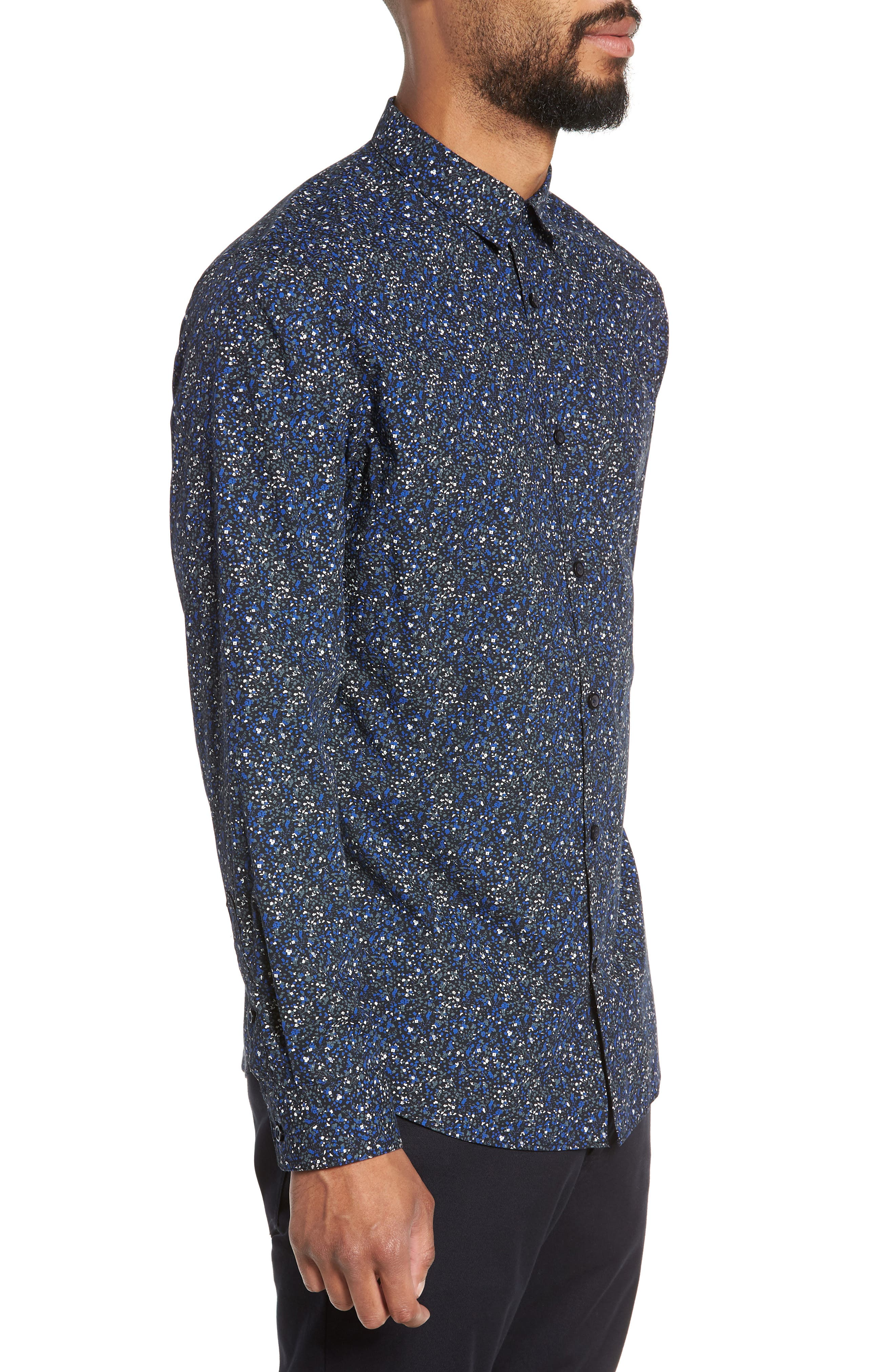 Slim Fit Sport Shirt,                             Alternate thumbnail 4, color,                             ESTATE BLUE