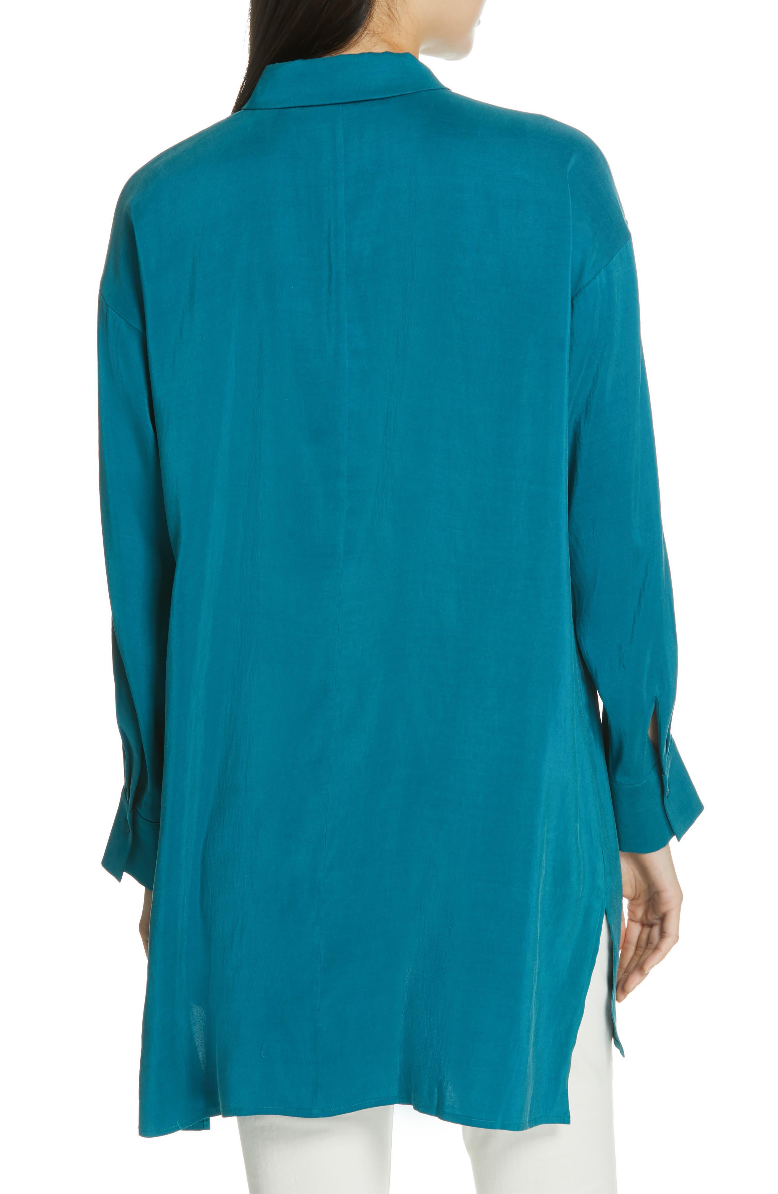 Long Classic Collar Silk Shirt,                             Alternate thumbnail 2, color,                             TEAL