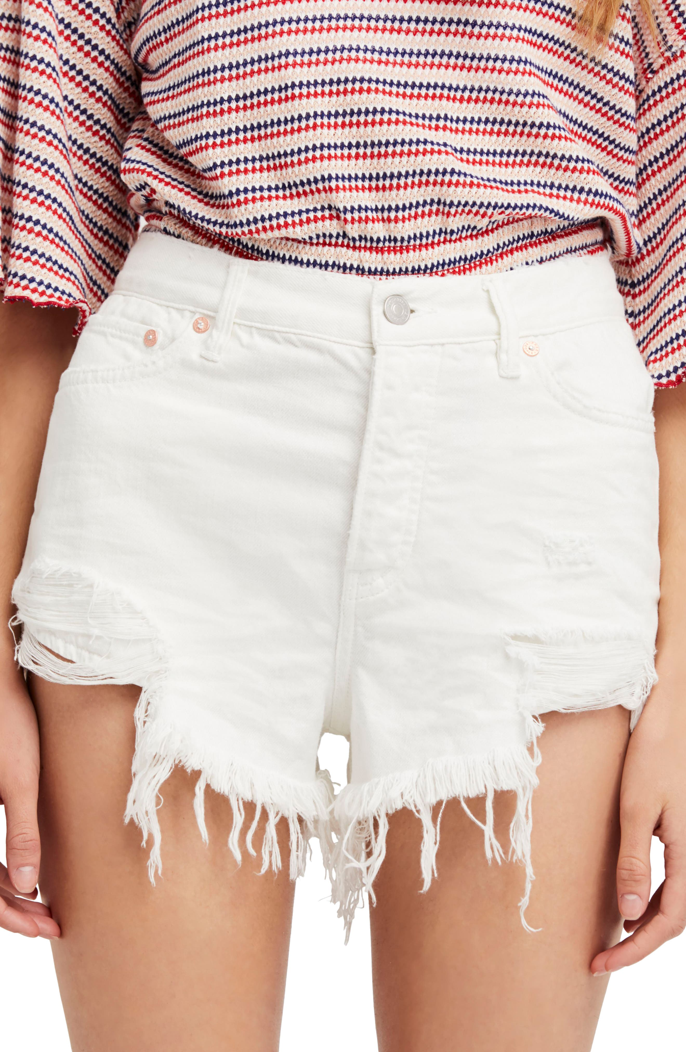We the Free by Free People Loving Good Vibrations Cutoff Denim Shorts,                             Main thumbnail 1, color,                             WHITE