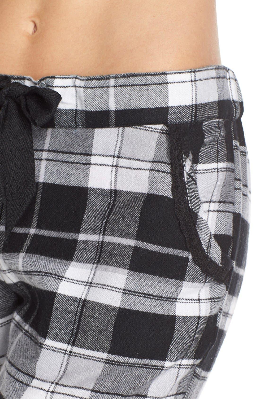 Plaid Flannel Lounge Pants,                             Alternate thumbnail 4, color,                             001