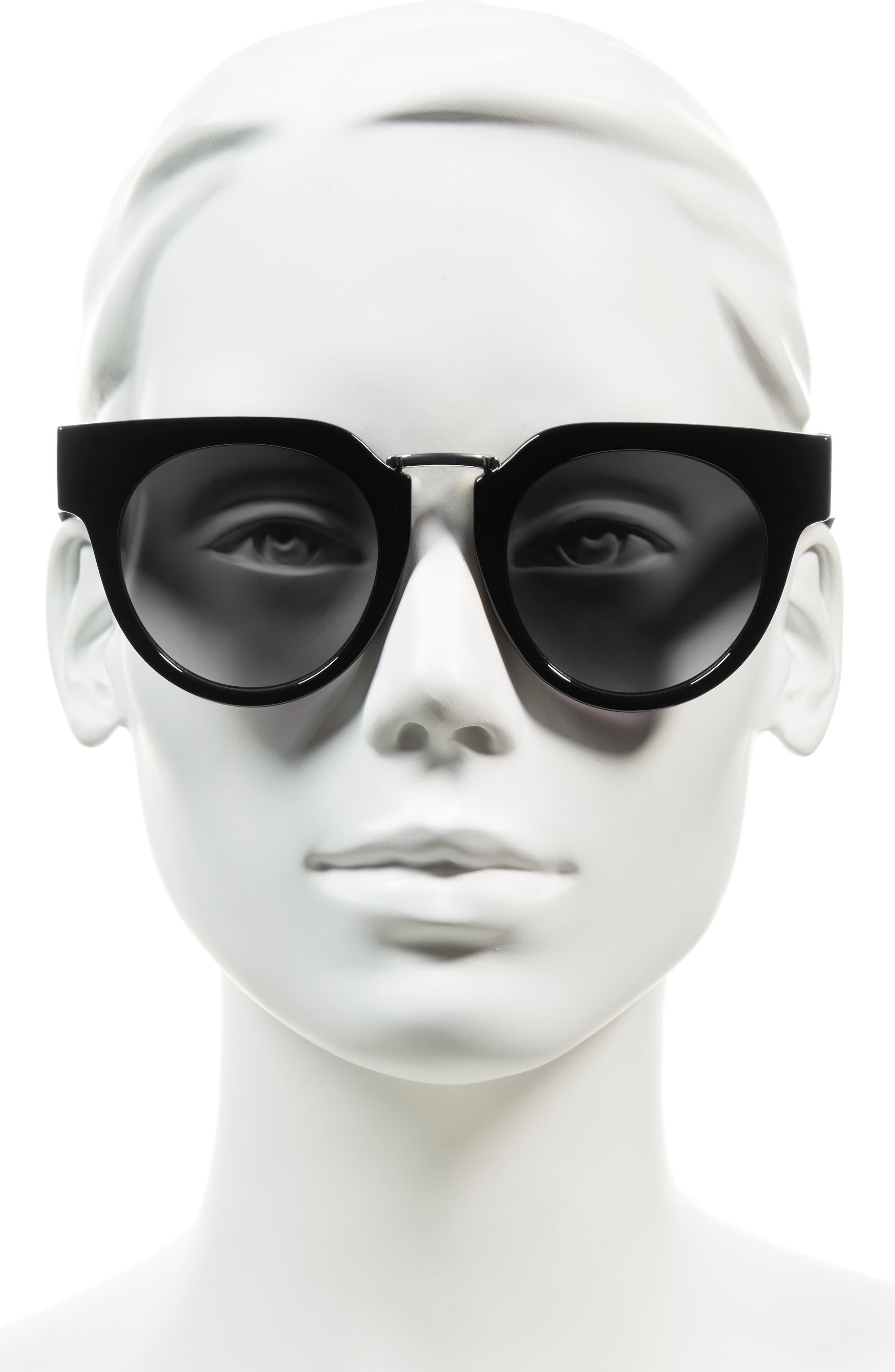 48mm Round Sunglasses,                             Alternate thumbnail 3, color,                             001