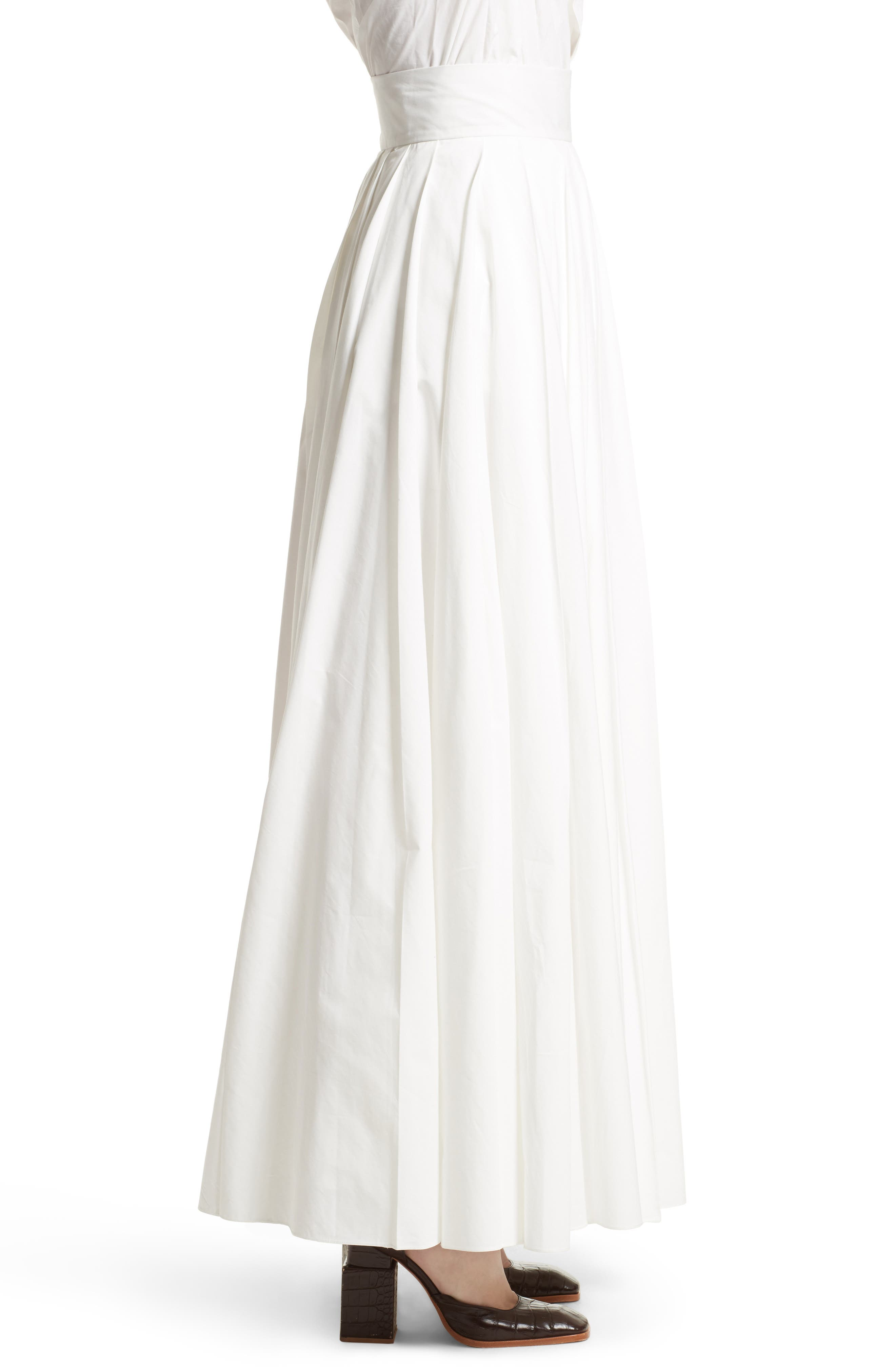 Pleated Maxi Skirt,                             Alternate thumbnail 3, color,                             100