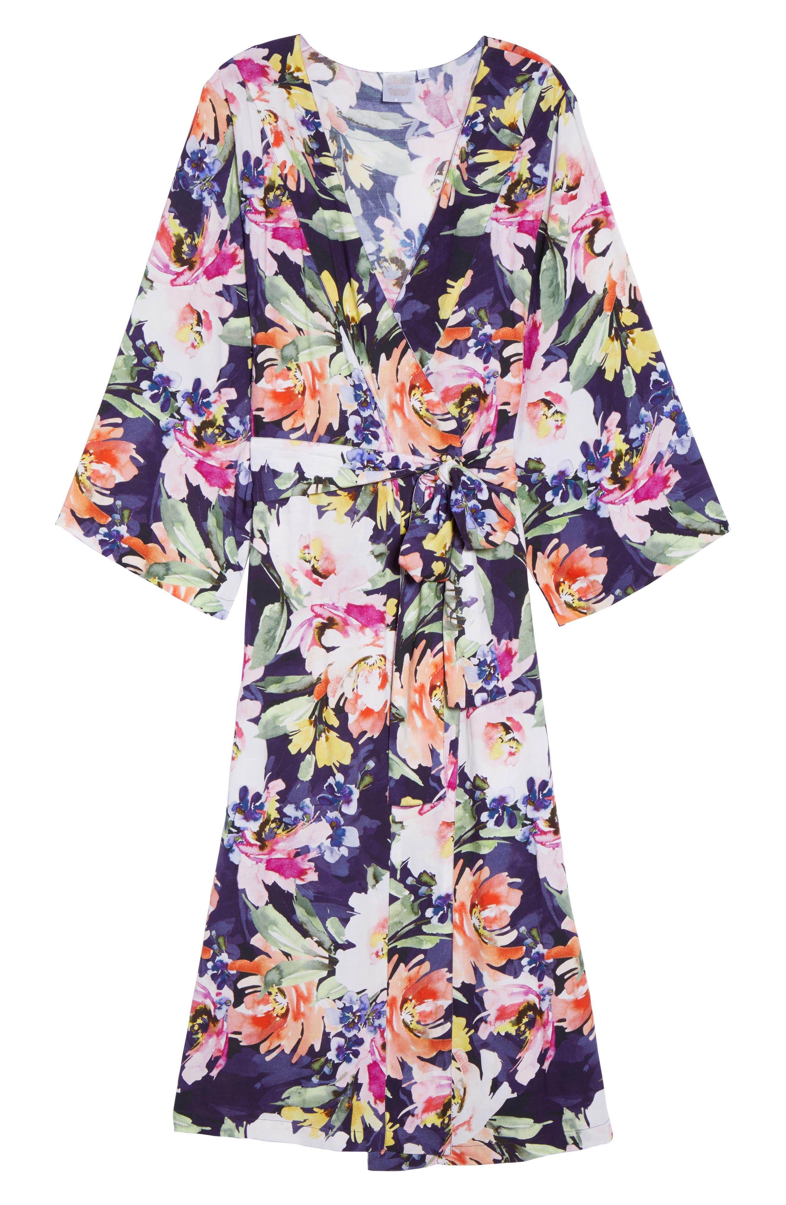 Long Floral Kimono Robe,                             Alternate thumbnail 7, color,