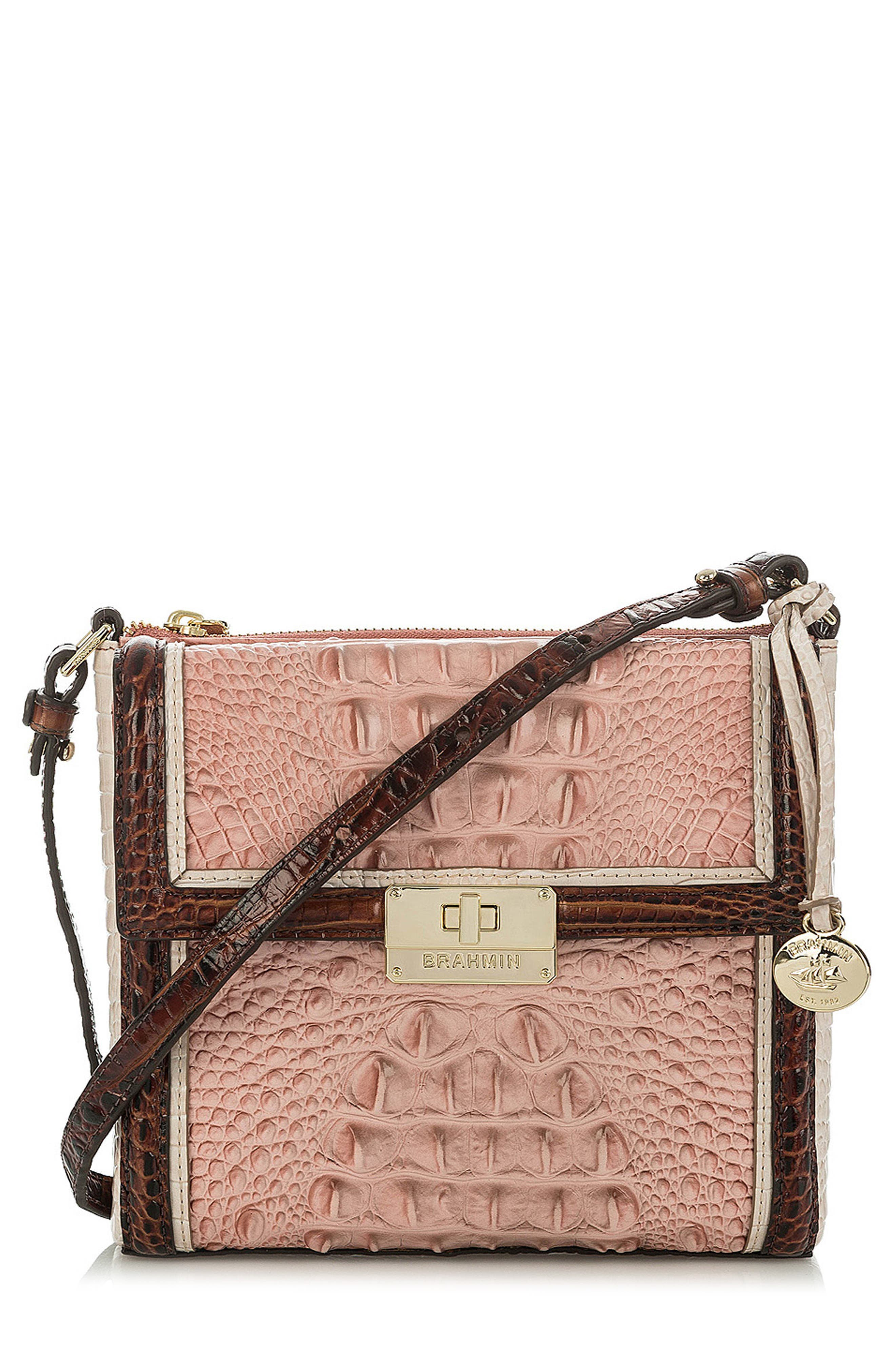 Marquis Chambery - Manhattan Croc Embossed Leather Crossbody Bag,                             Main thumbnail 1, color,