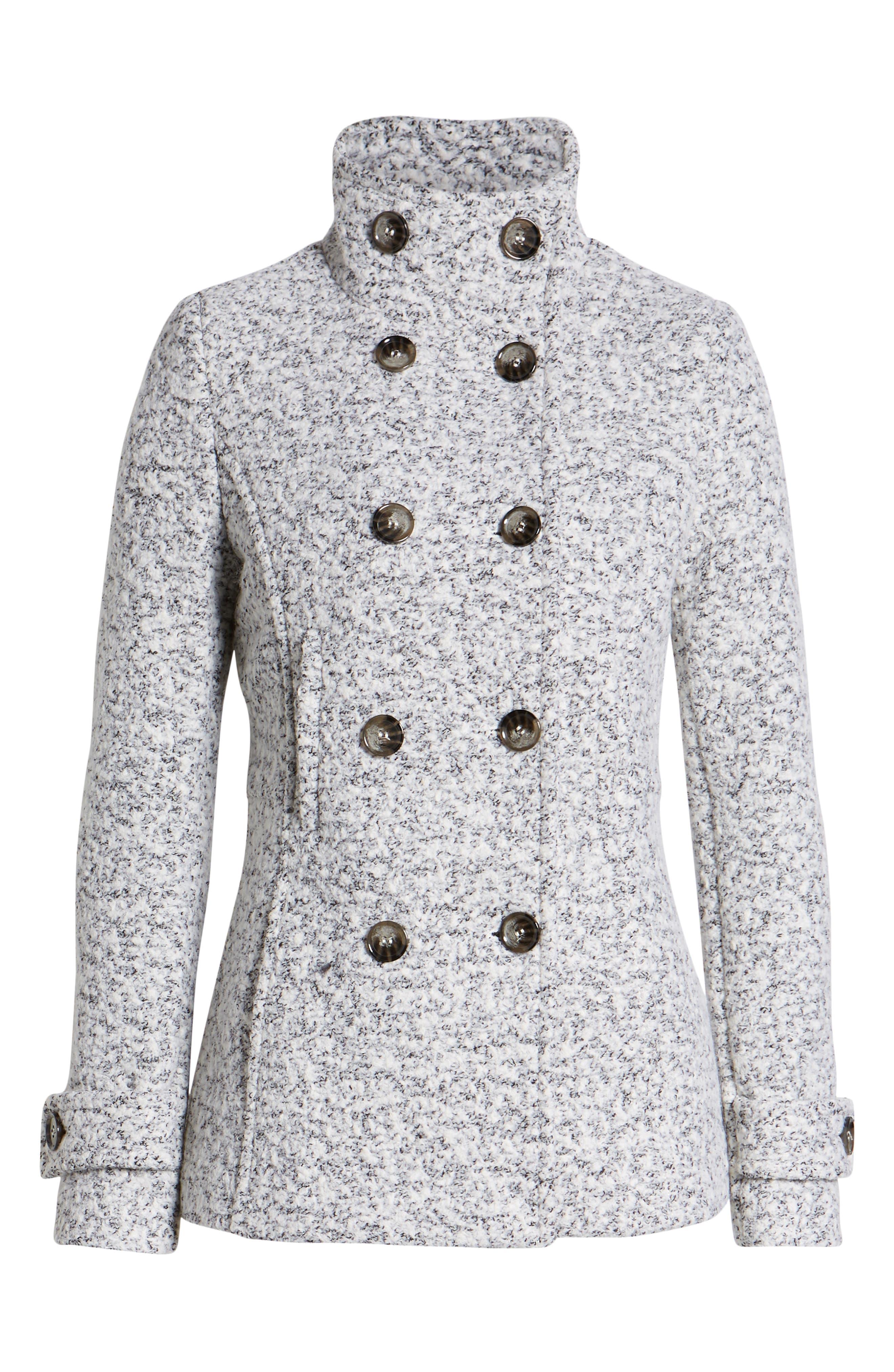 Oxford Double Breasted Coat,                             Alternate thumbnail 6, color,                             SALT/ PEPPER