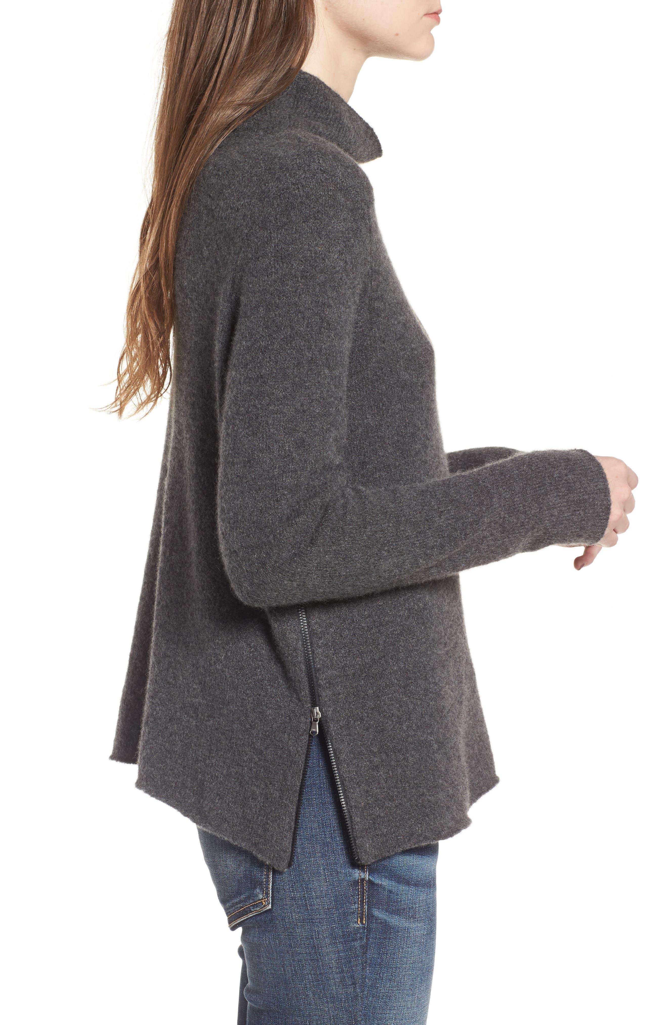 Stretch Cashmere Mock Neck Sweater,                             Alternate thumbnail 3, color,                             069