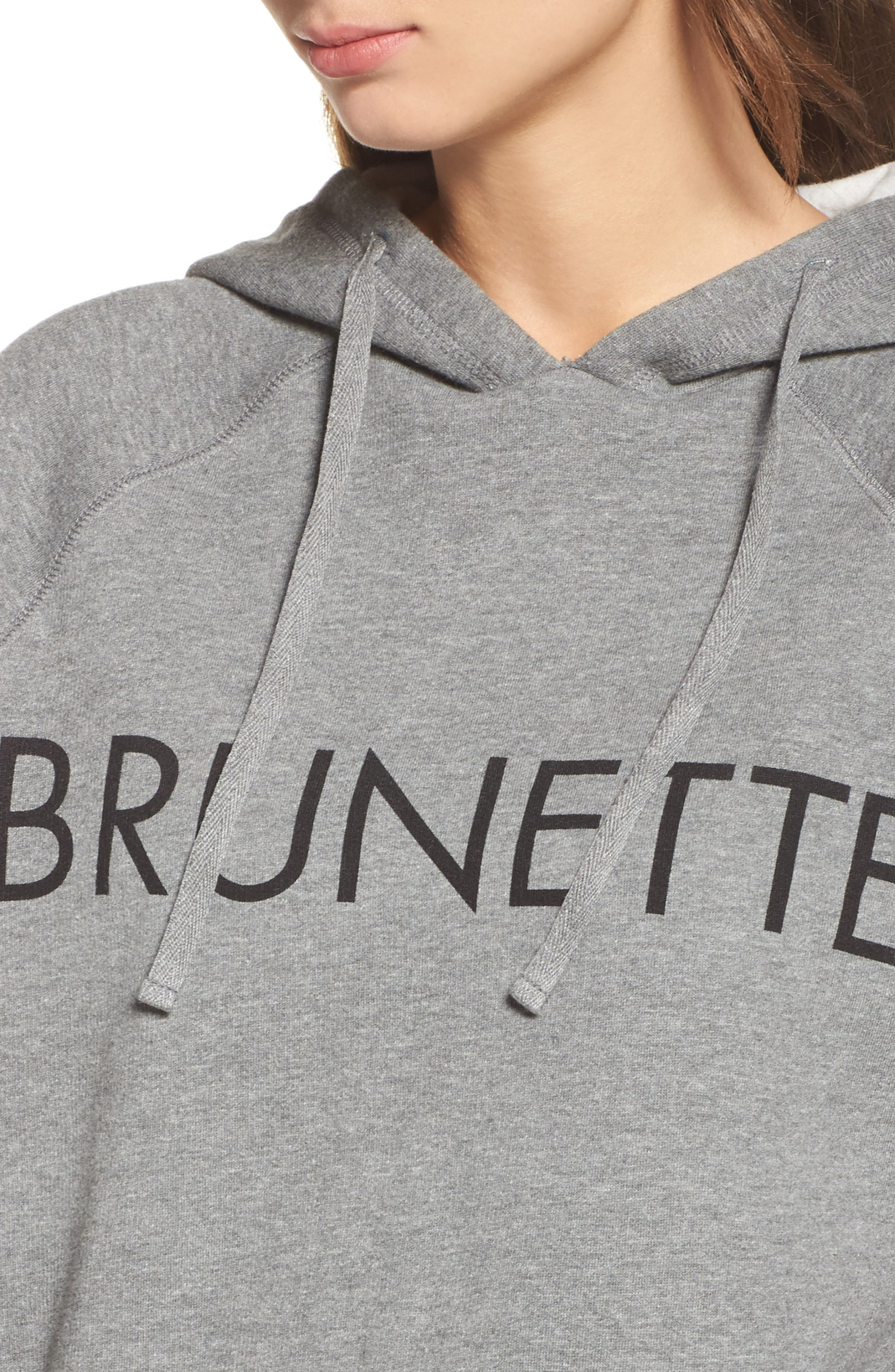 Brunette Raw Hem Hoodie,                             Alternate thumbnail 4, color,                             020