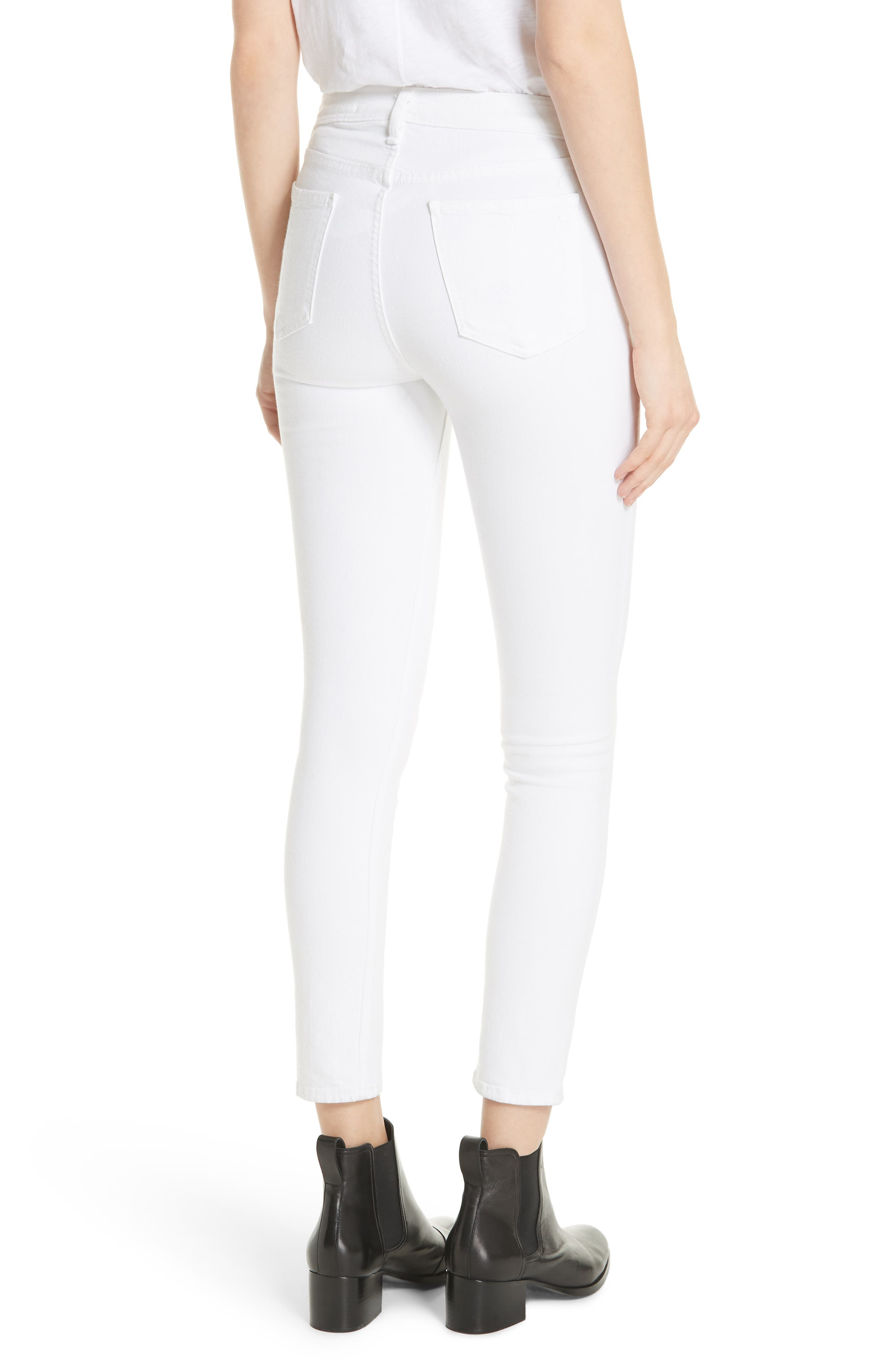 High Waist Ankle Skinny Jeans,                             Alternate thumbnail 2, color,                             BLANC