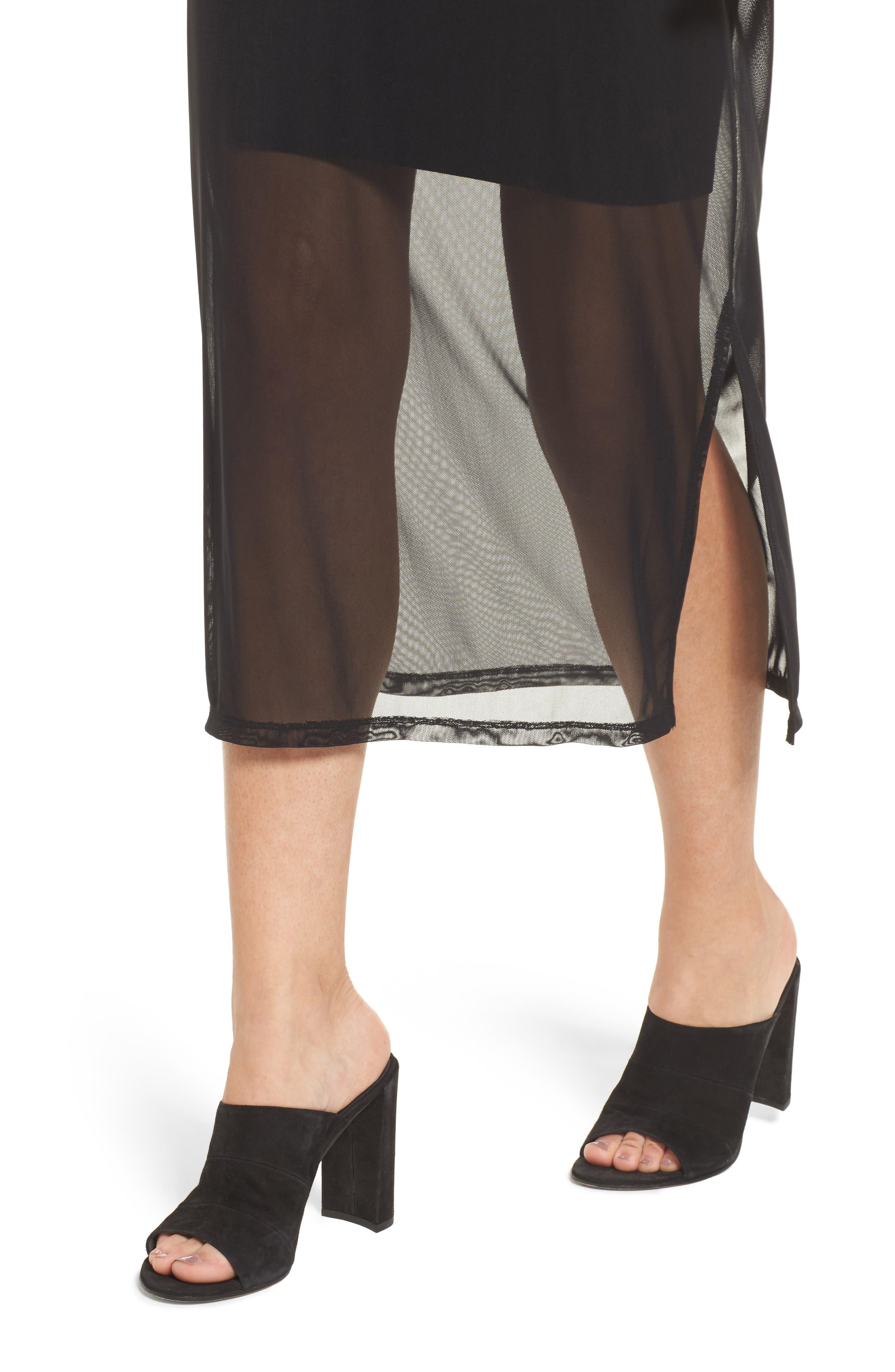 Mesh Midi Dress,                             Alternate thumbnail 4, color,