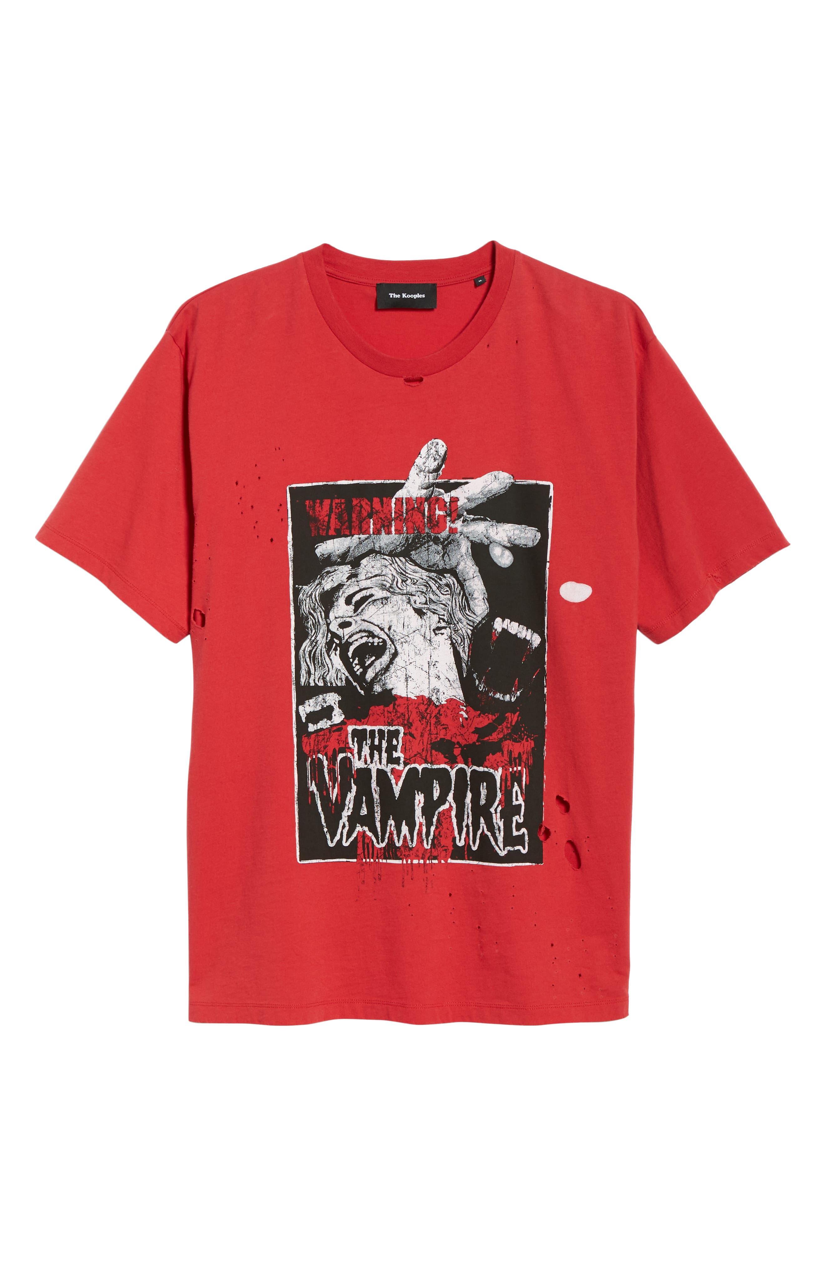Vampire Distressed Graphic T-Shirt,                             Alternate thumbnail 6, color,                             RED