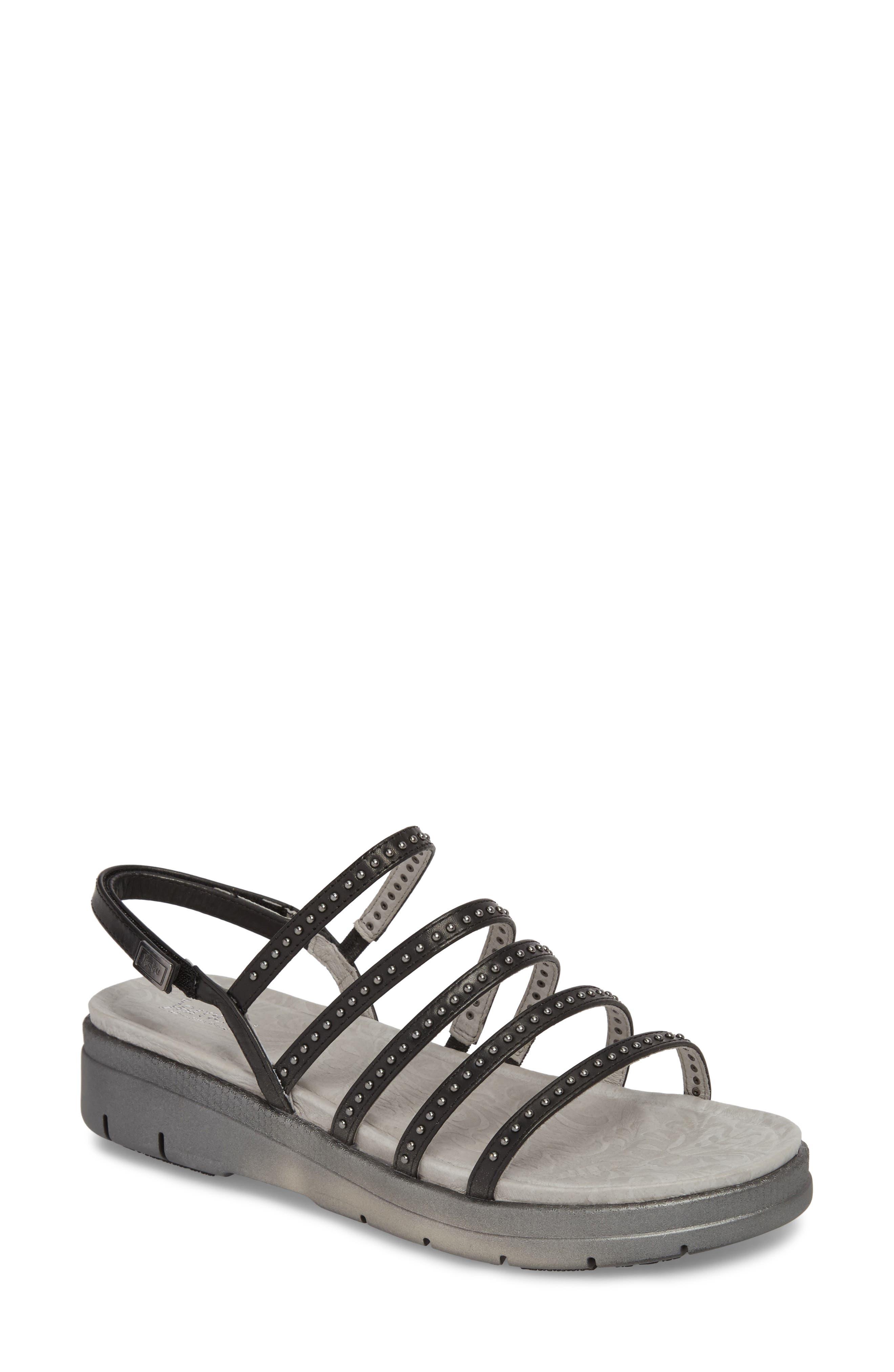 Elegance Studded Strappy Sandal,                             Main thumbnail 1, color,                             BLACK LEATHER