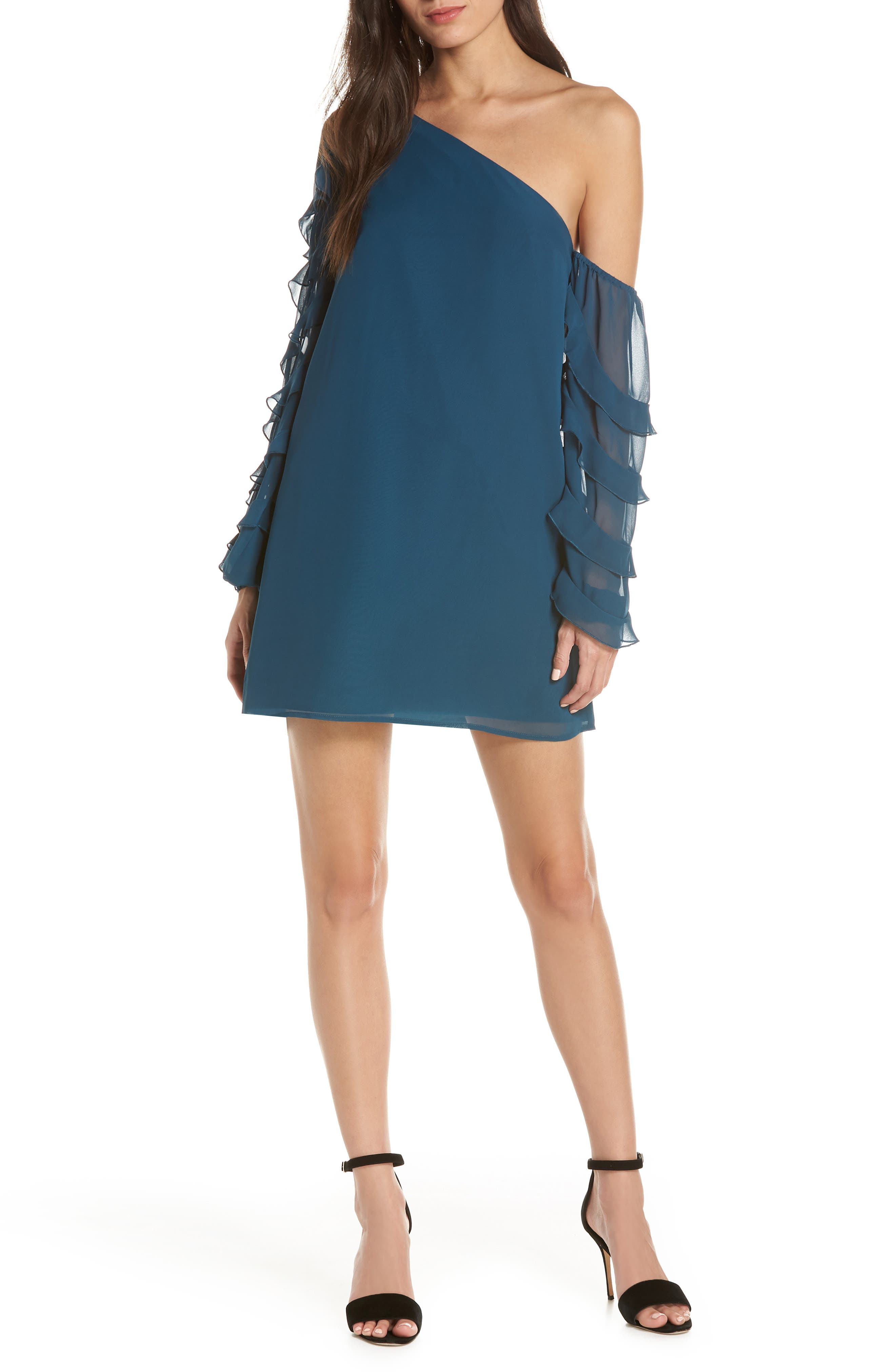 Love the Way I Look Tonight One-Shoulder Minidress, Main, color, TEAL