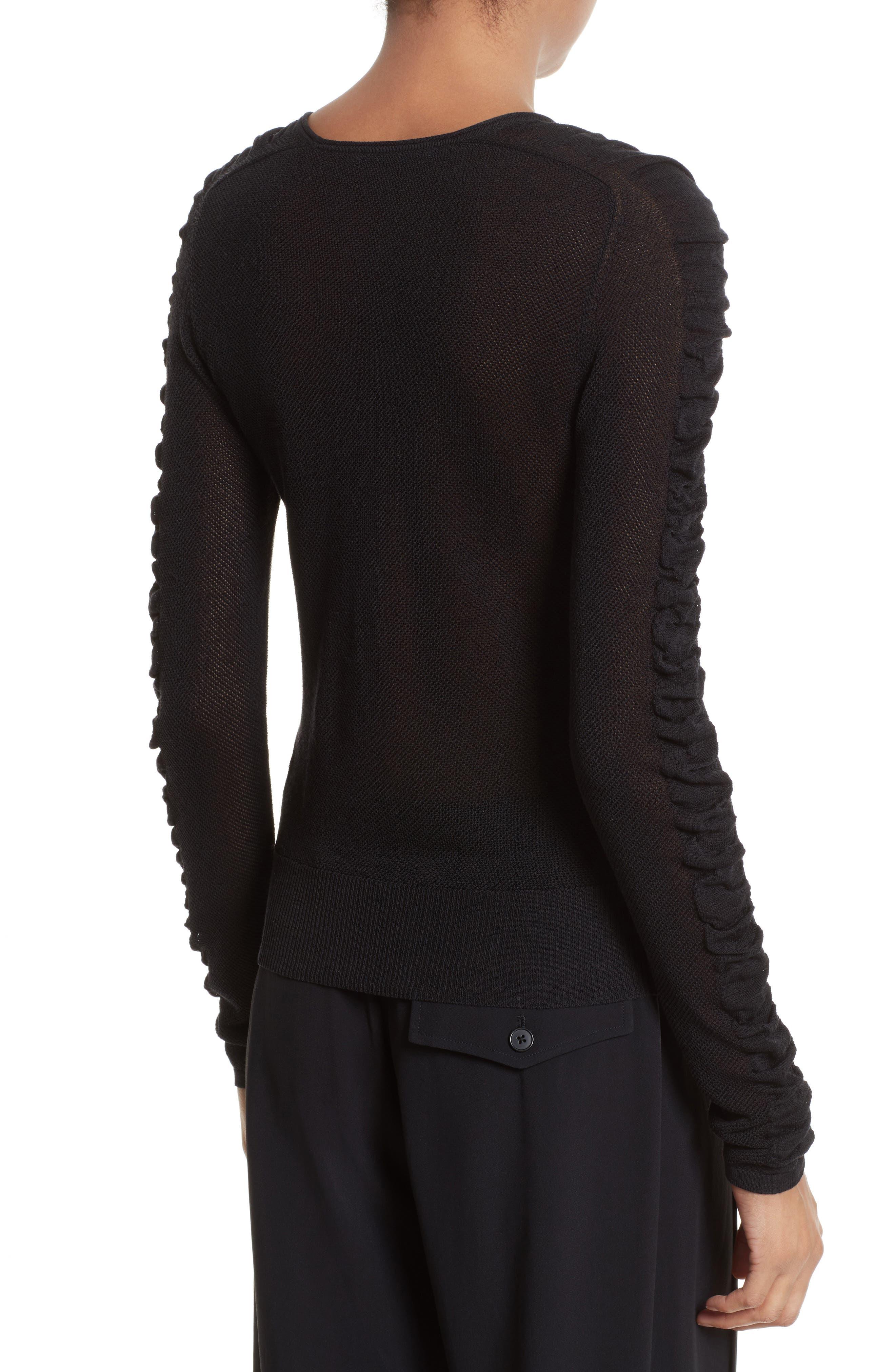 Shirred Silk Blend Pullover,                             Alternate thumbnail 2, color,                             001