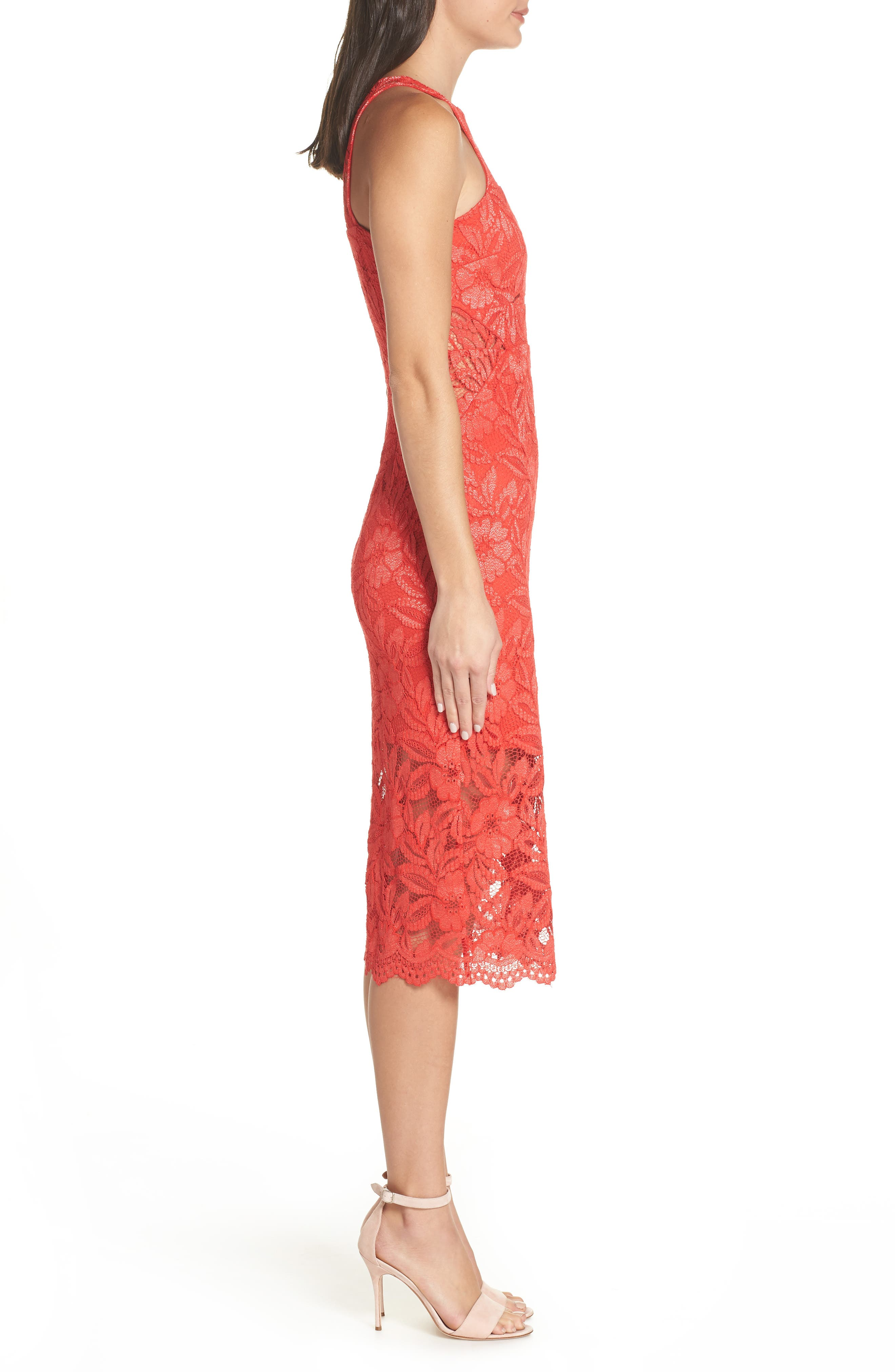 Erin Lace Midi Sheath Dress,                             Alternate thumbnail 3, color,                             RED