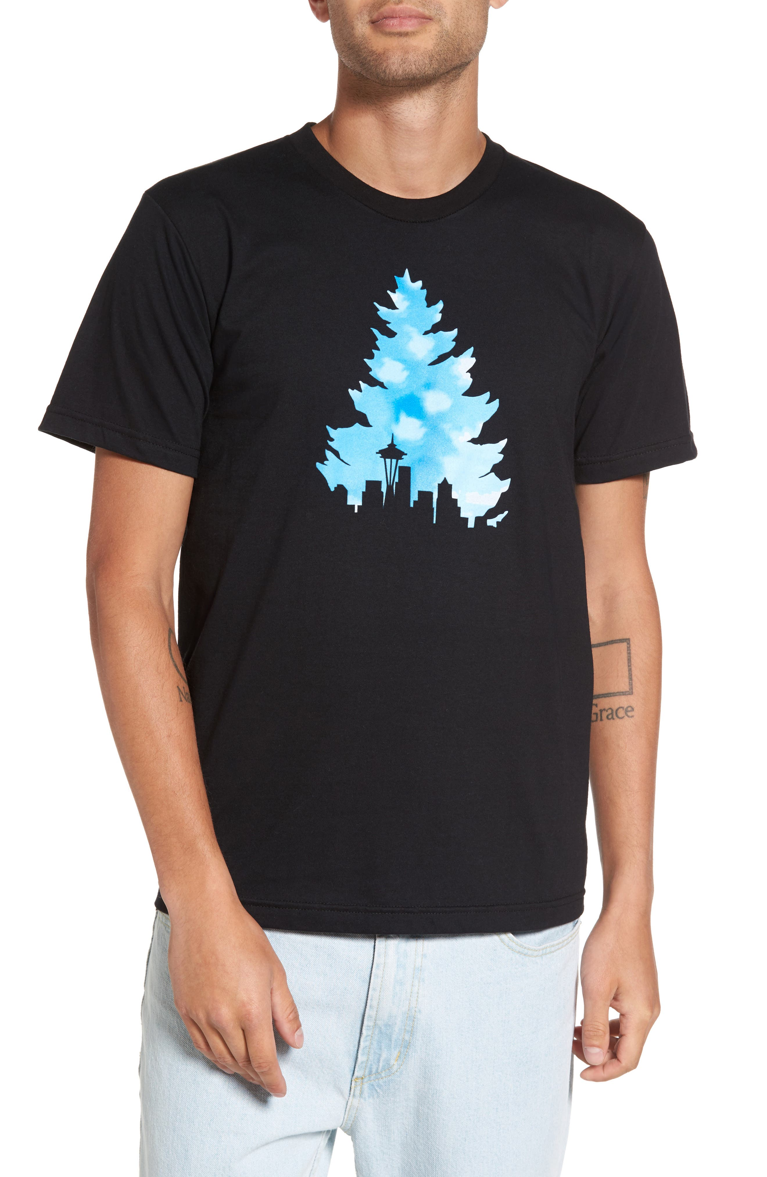 Johnny Tree Clouds T-Shirt,                         Main,                         color, 001