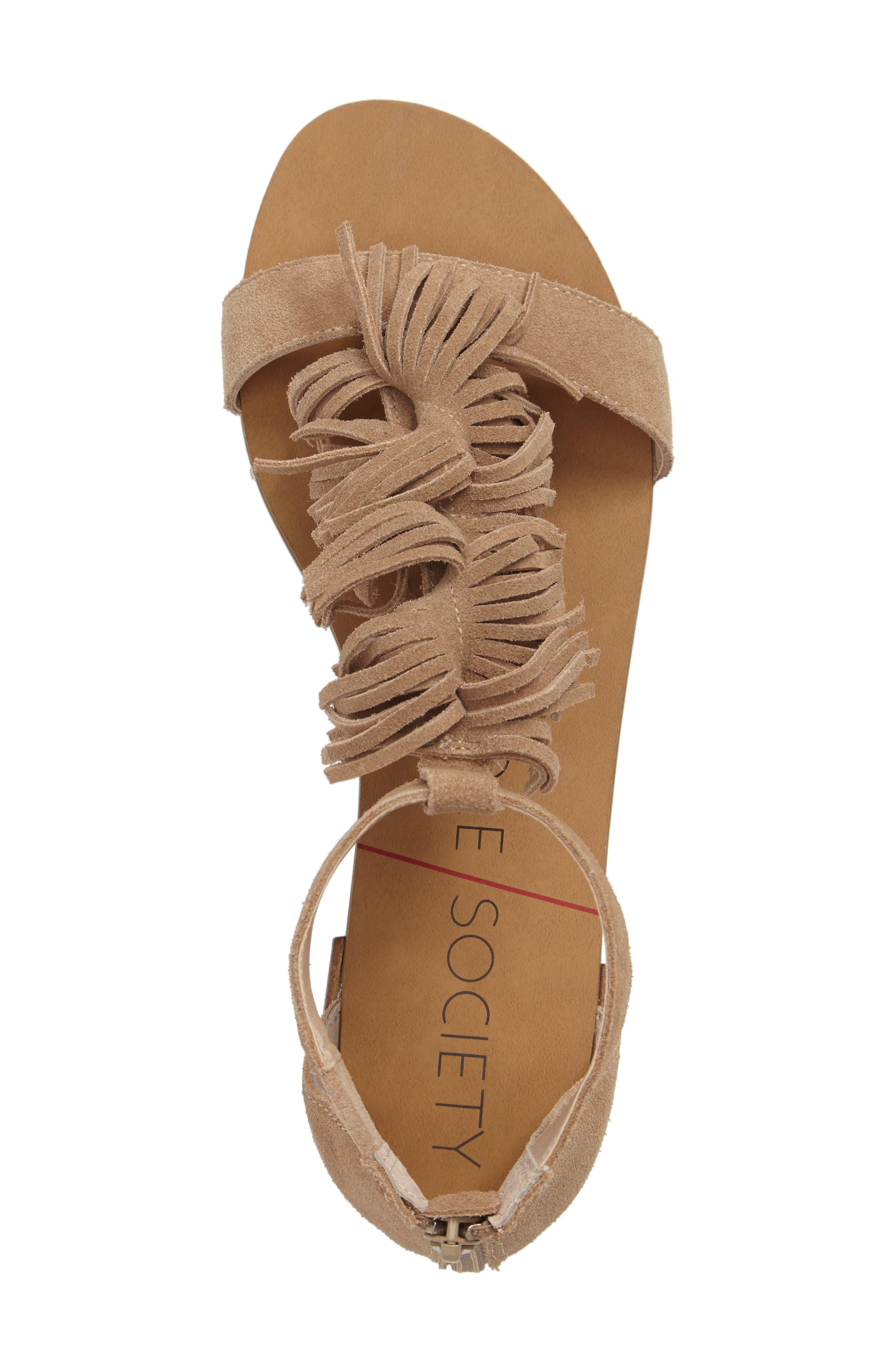 Koa Fringed T-Strap Sandal,                             Alternate thumbnail 5, color,                             200
