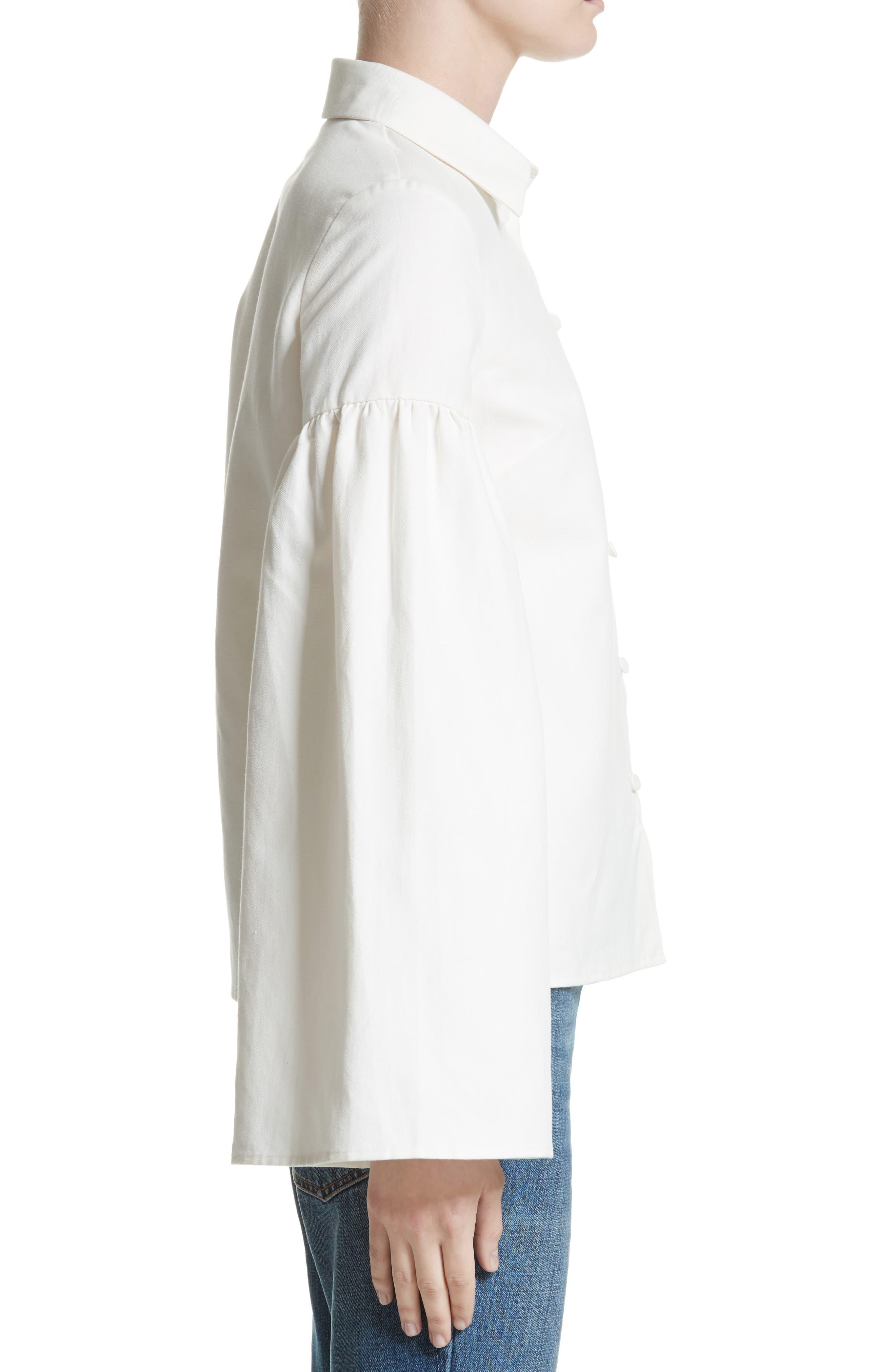 Linen & Cotton Puff Sleeve Top,                             Alternate thumbnail 3, color,                             900