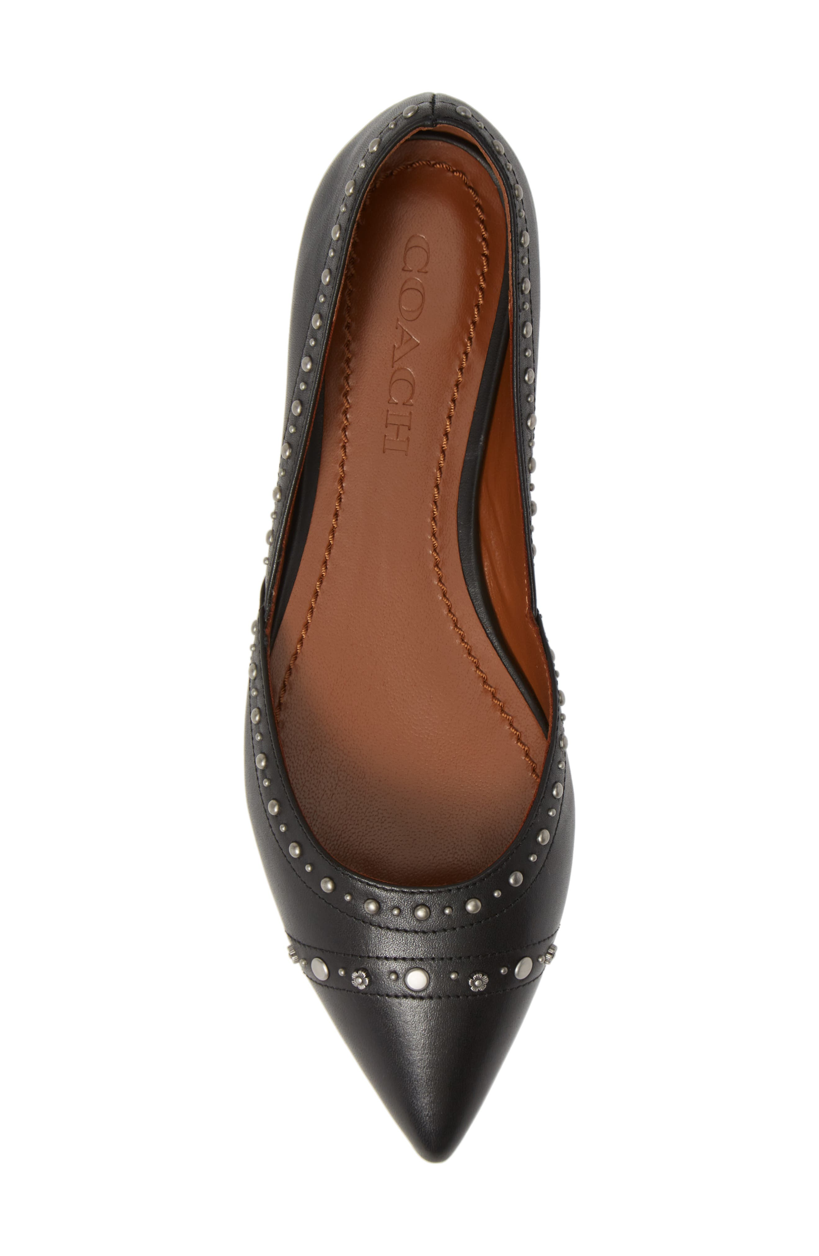 Valintina Pointed Toe Flat,                             Alternate thumbnail 5, color,                             BLACK LEATHER