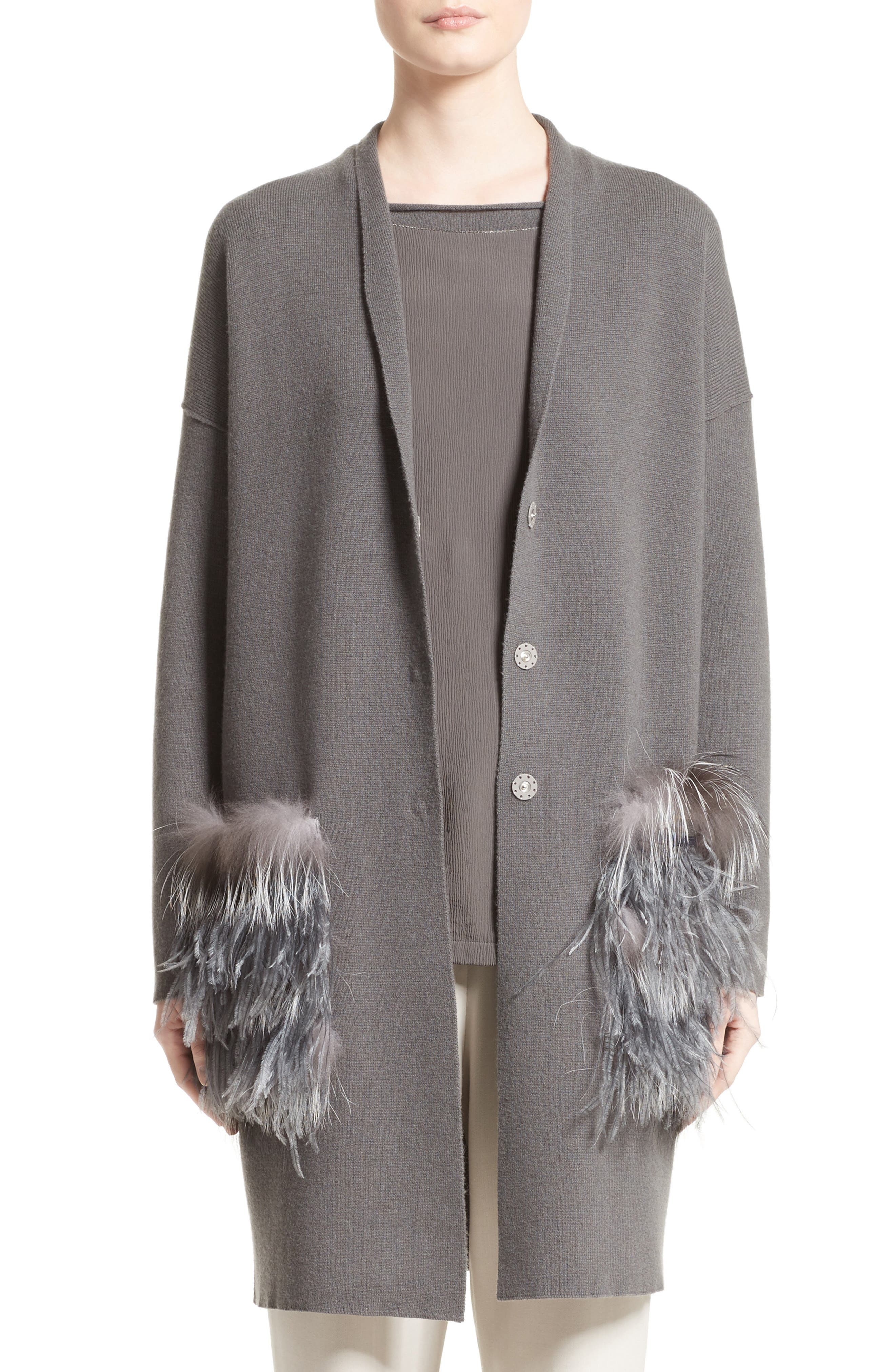 Wool, Silk & Cashmere Cardigan with Genuine Fox Fur & Ostrich Feather Trim,                             Main thumbnail 1, color,                             021