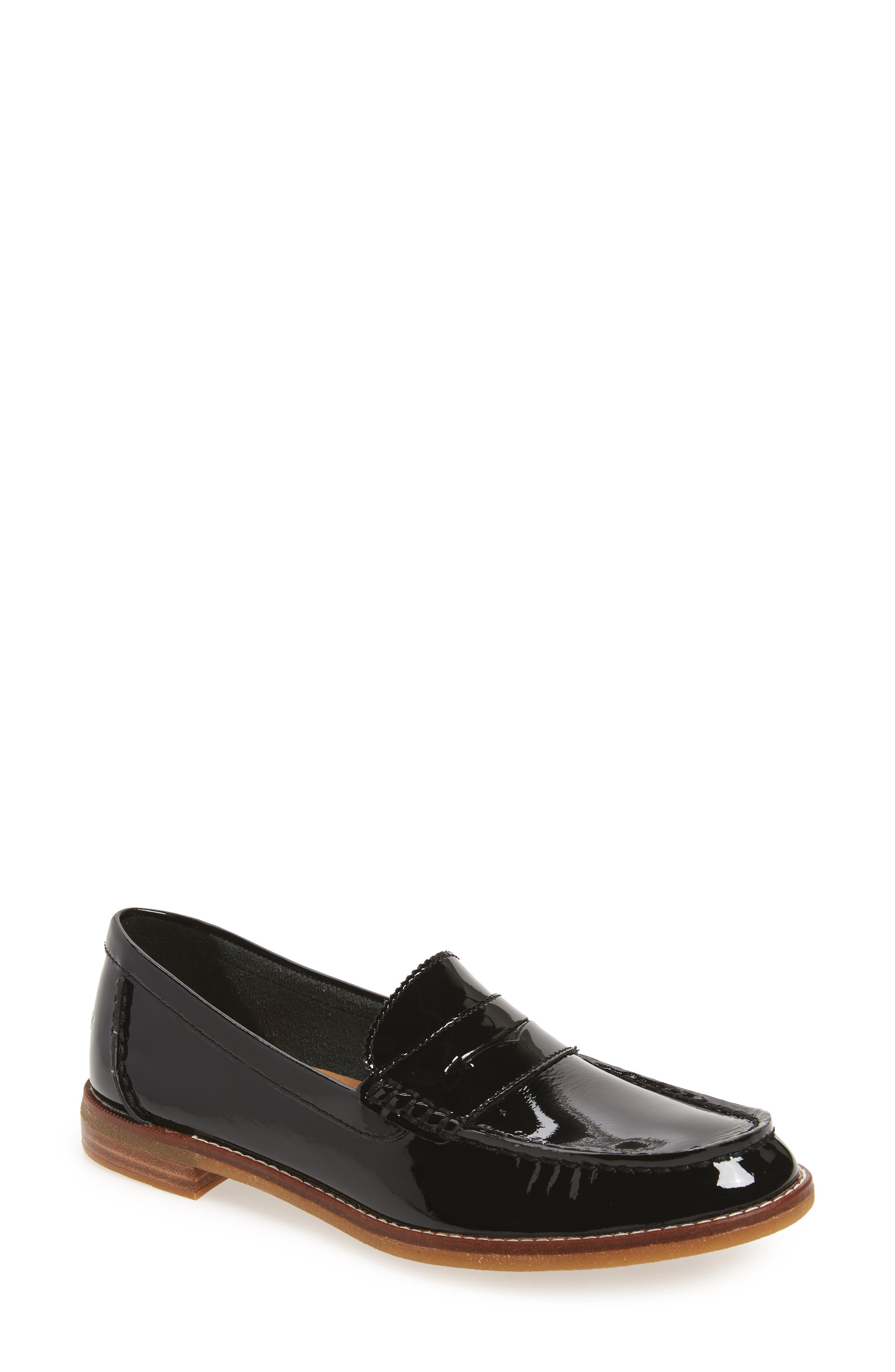 Seaport Penny Loafer,                             Main thumbnail 1, color,                             BLACK PATENT LEATHER