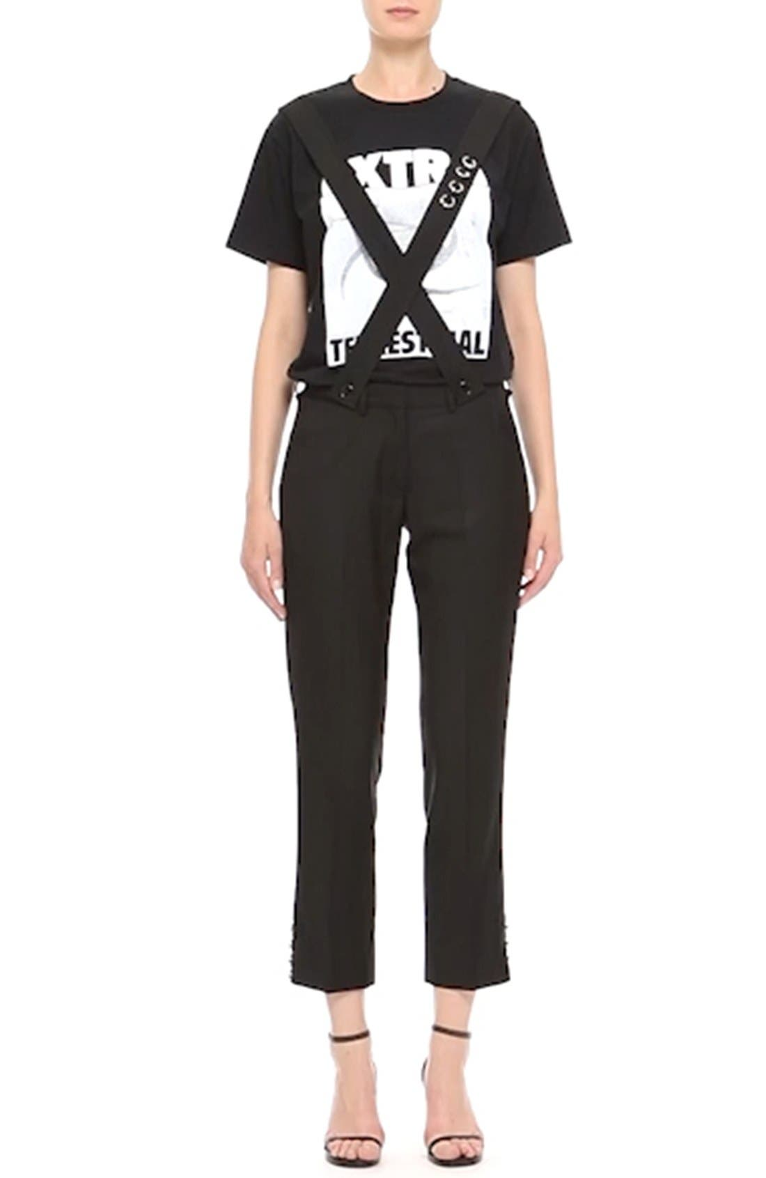 ASHLEY WILLIAMS,                             'Piercing' Wool Ankle Pants with Detachable Suspenders,                             Alternate thumbnail 2, color,                             001