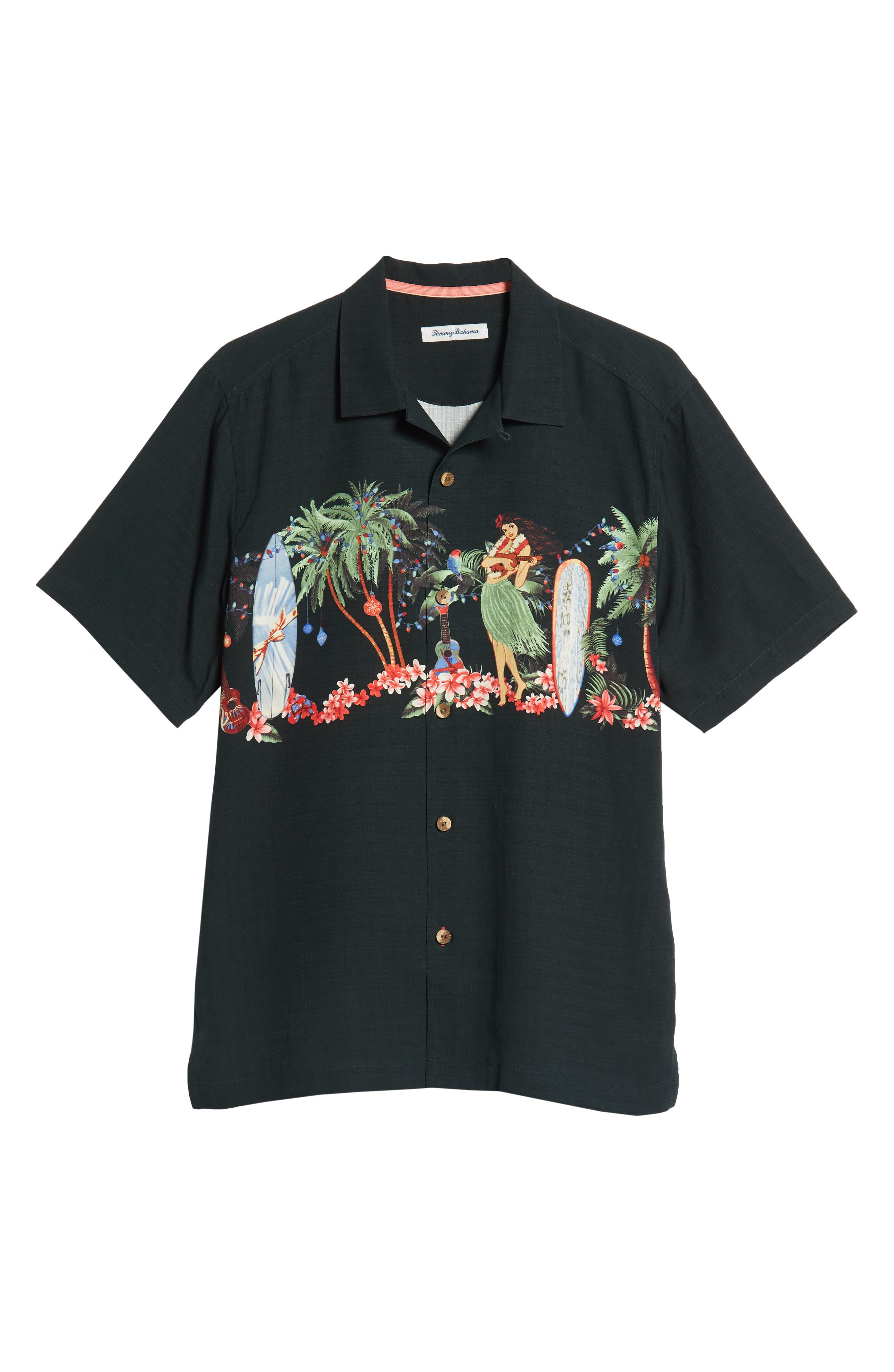 Mele Kalikimaka Silk Camp Shirt,                             Alternate thumbnail 5, color,                             BLACK