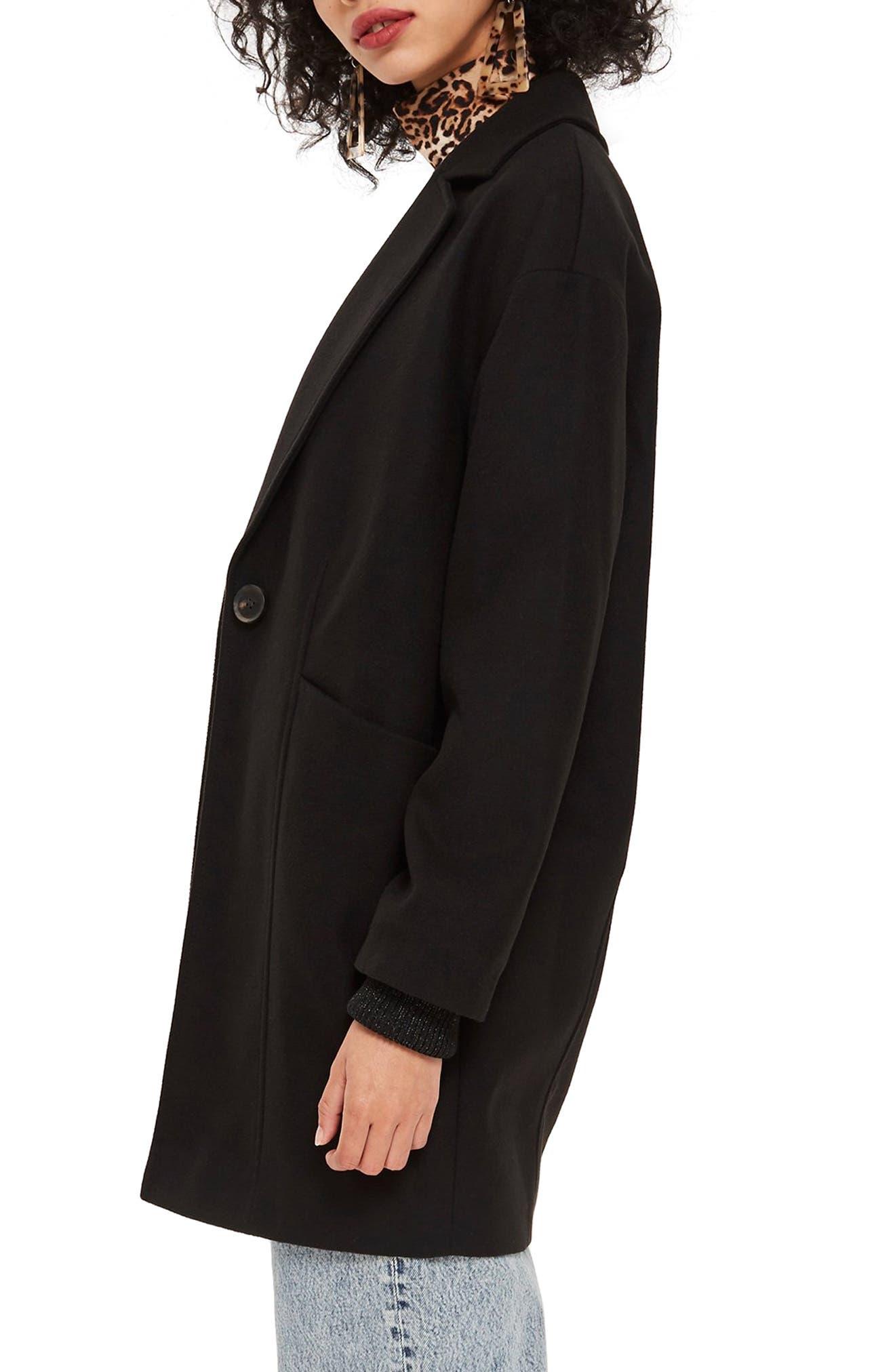 Marla Slouch Coat,                             Alternate thumbnail 3, color,                             BLACK
