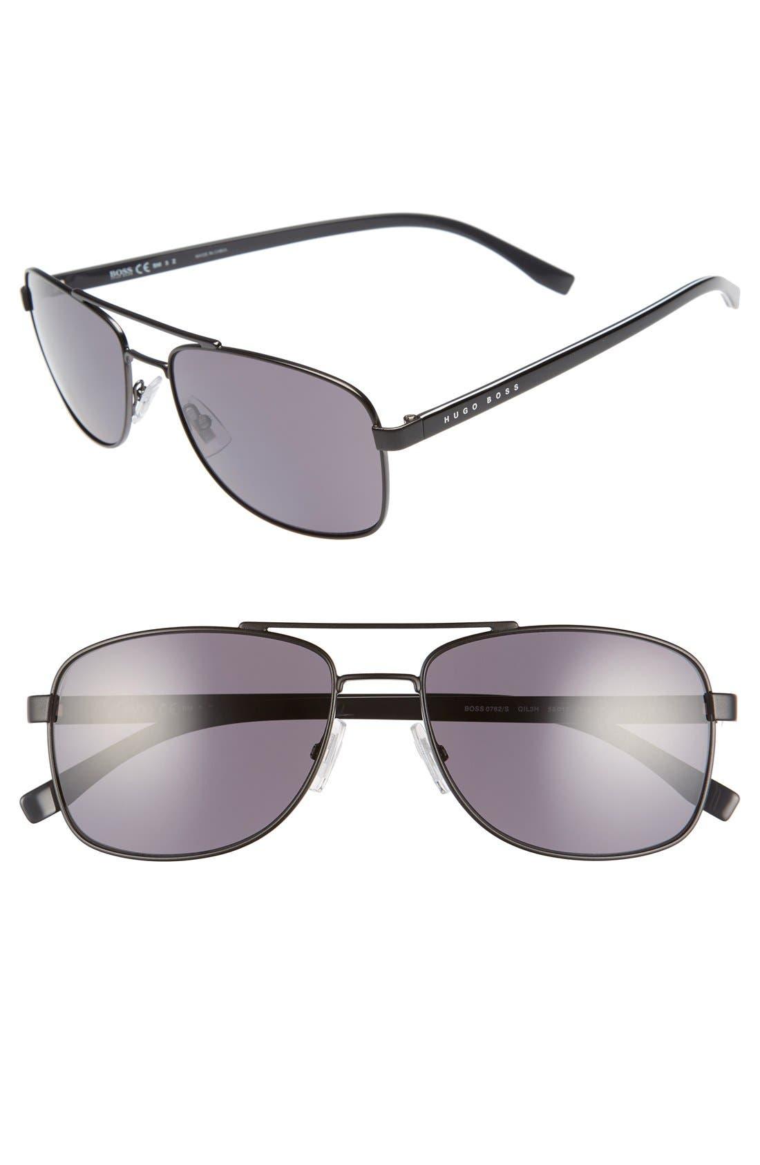 '0762/S' 58mm Polarized Navigator Sunglasses,                             Main thumbnail 1, color,                             001