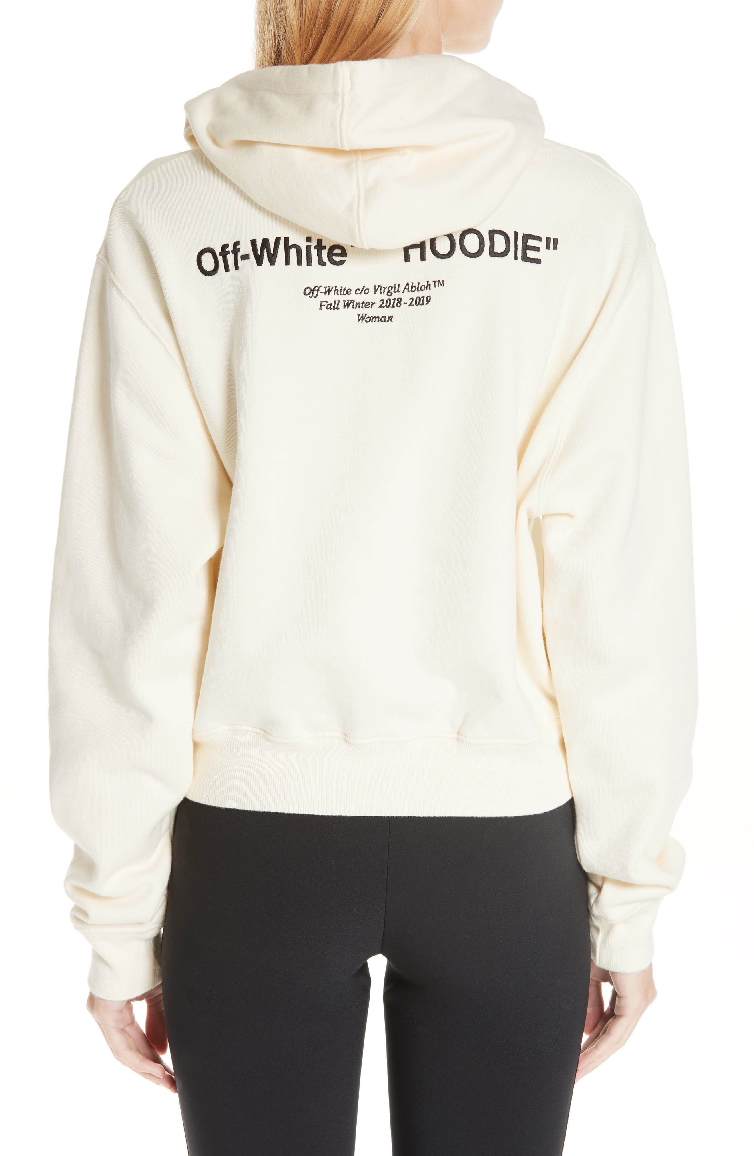 Quotes Crop Hoodie,                             Alternate thumbnail 2, color,                             WHITE BLACK