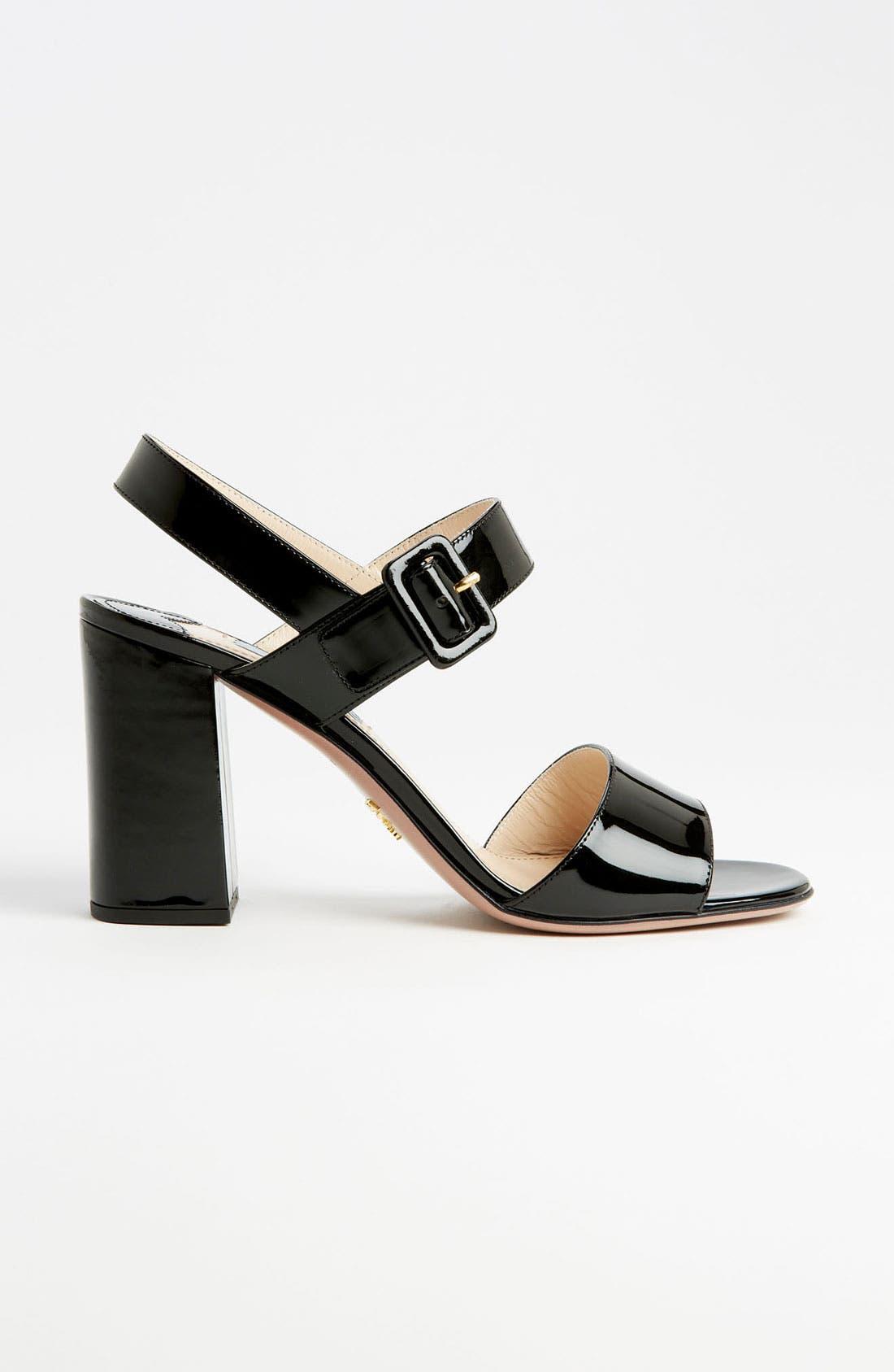 Two Strap Block Heel Sandal,                             Alternate thumbnail 3, color,                             001