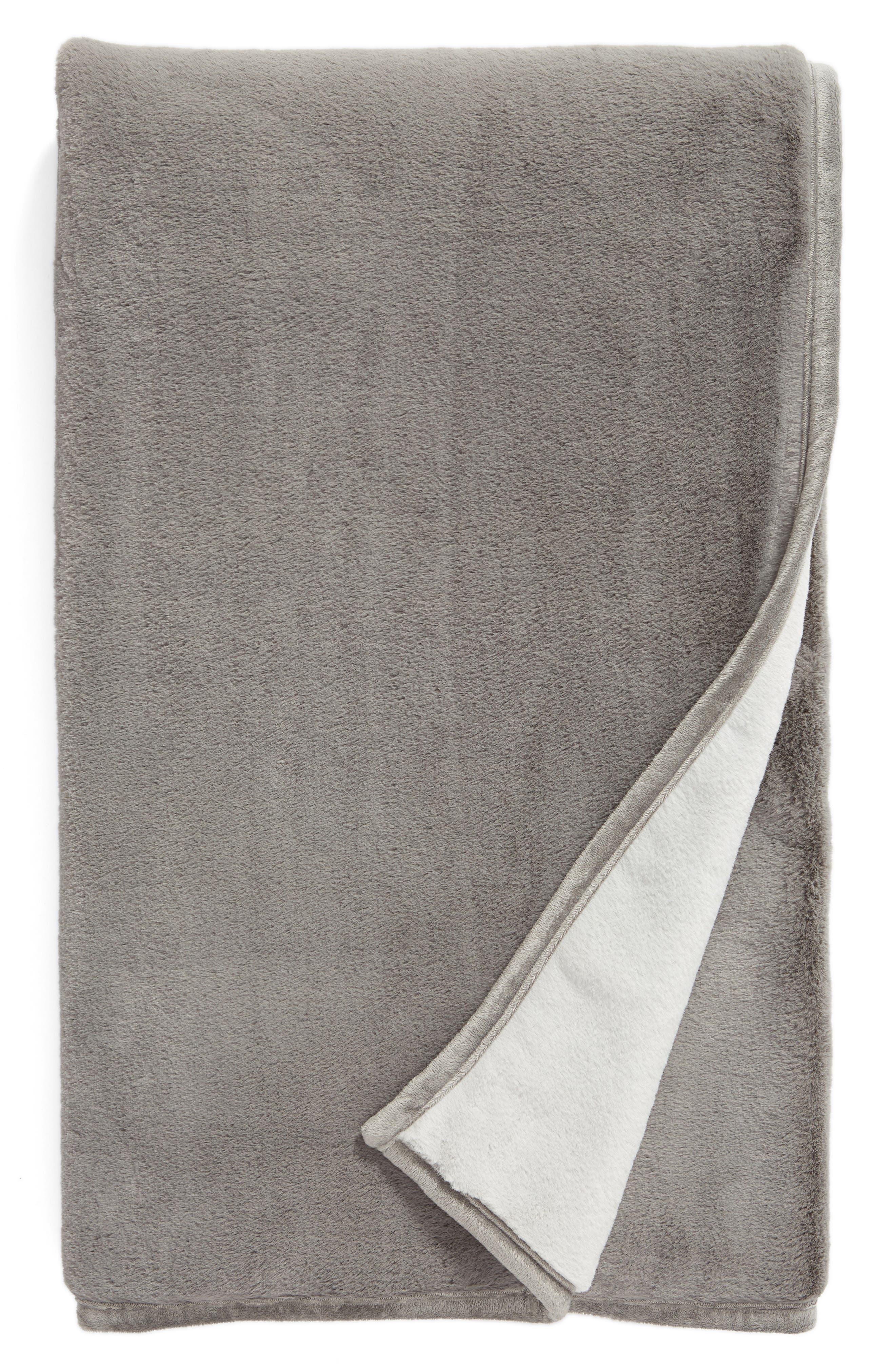 Reversible Plush Throw Blanket,                             Main thumbnail 1, color,                             GREY FROST