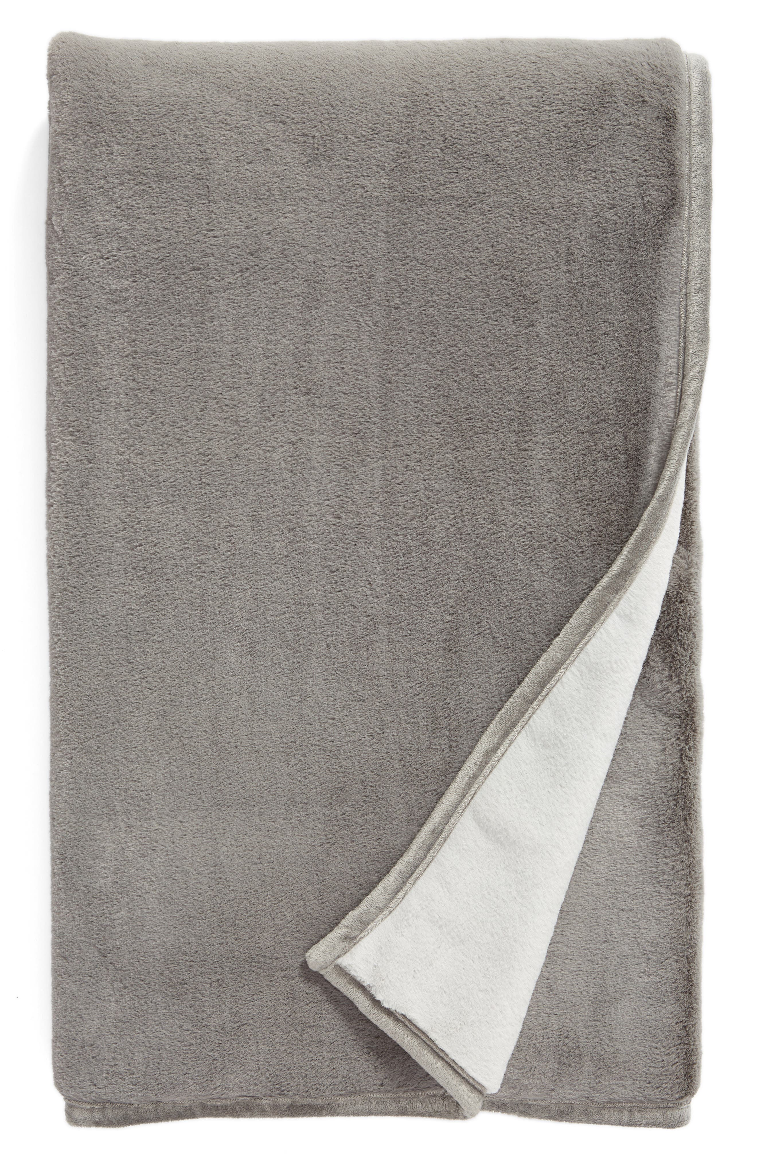 Reversible Plush Throw Blanket, Main, color, GREY FROST