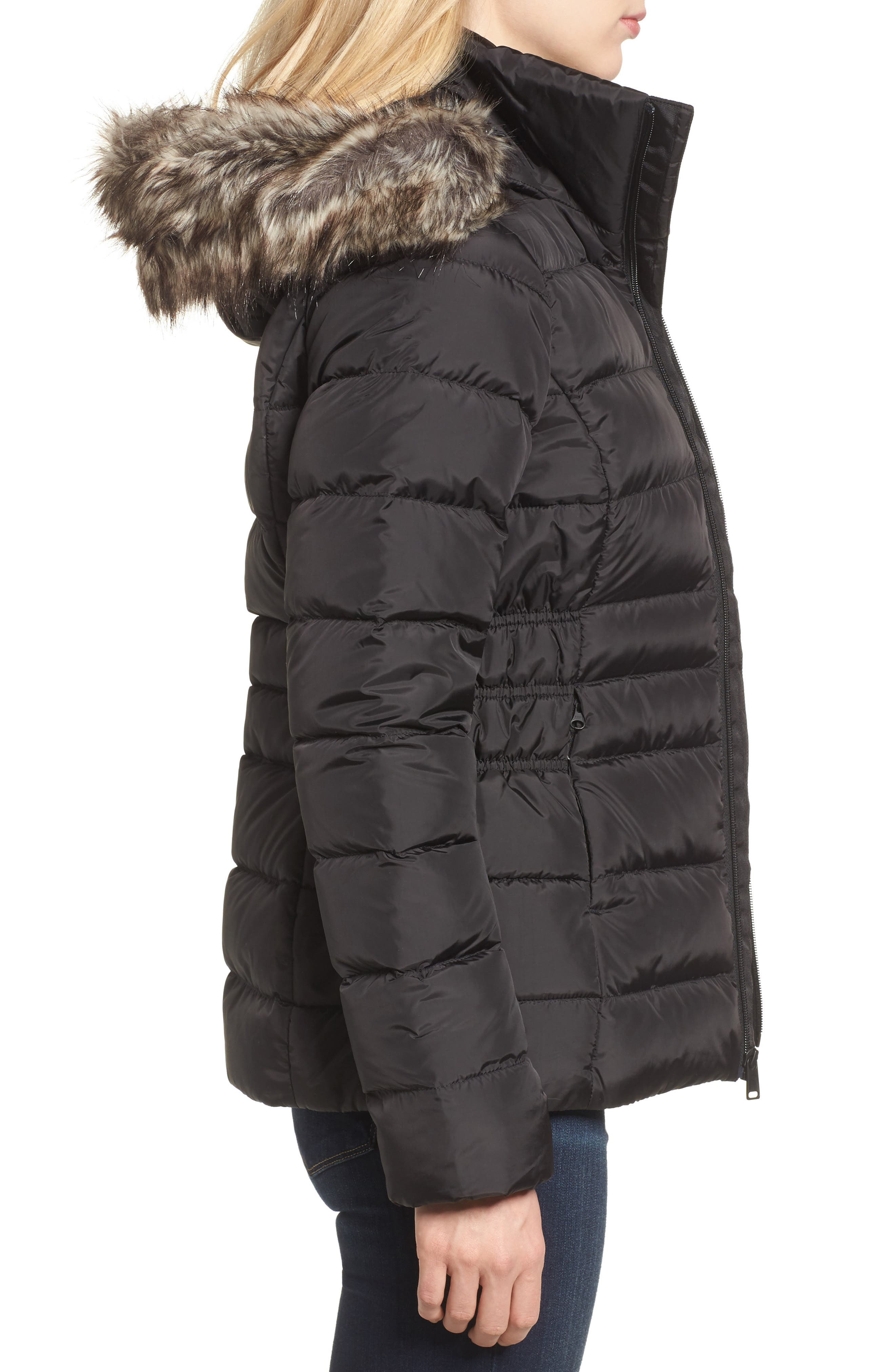 Gotham II Hooded Water Resistant 550-Fill-Power Down Jacket with Faux Fur Trim,                             Alternate thumbnail 3, color,                             001