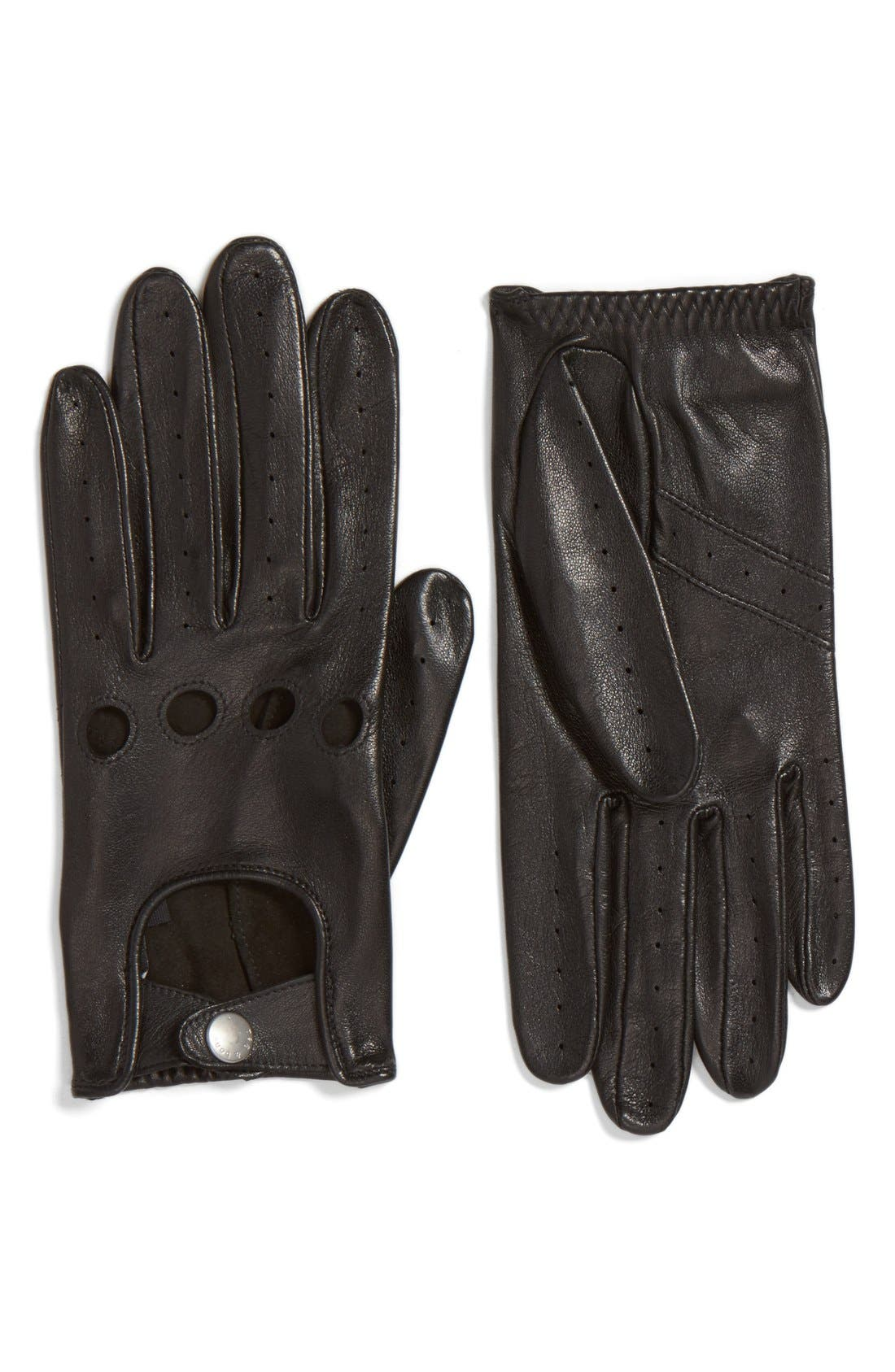 Leather Driving Gloves,                         Main,                         color, 001